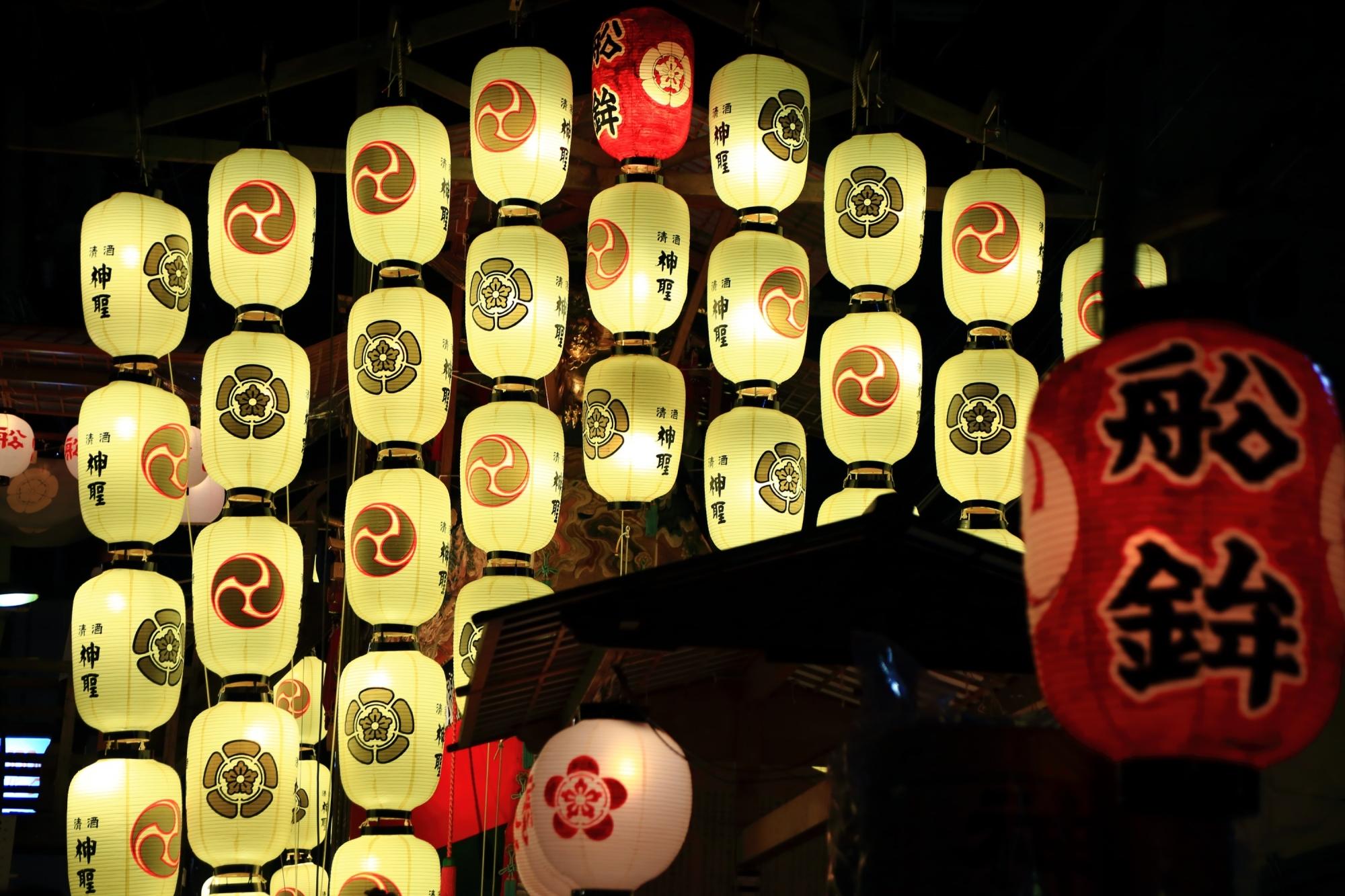 祇園祭の宵山の船鉾の駒形提灯