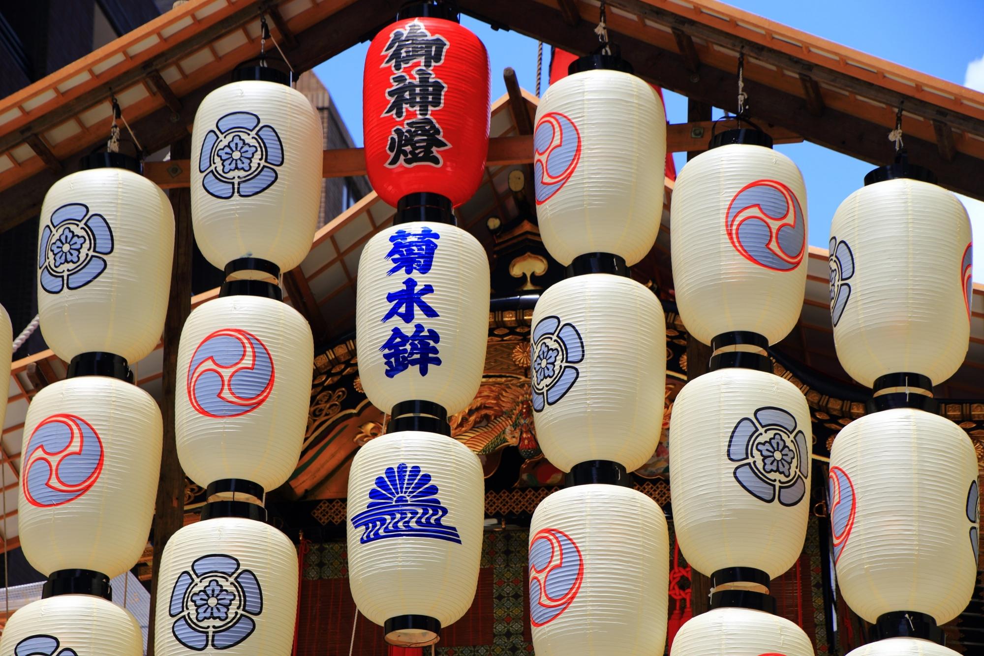 夏の風物詩の祇園祭の菊水鉾の駒形提灯