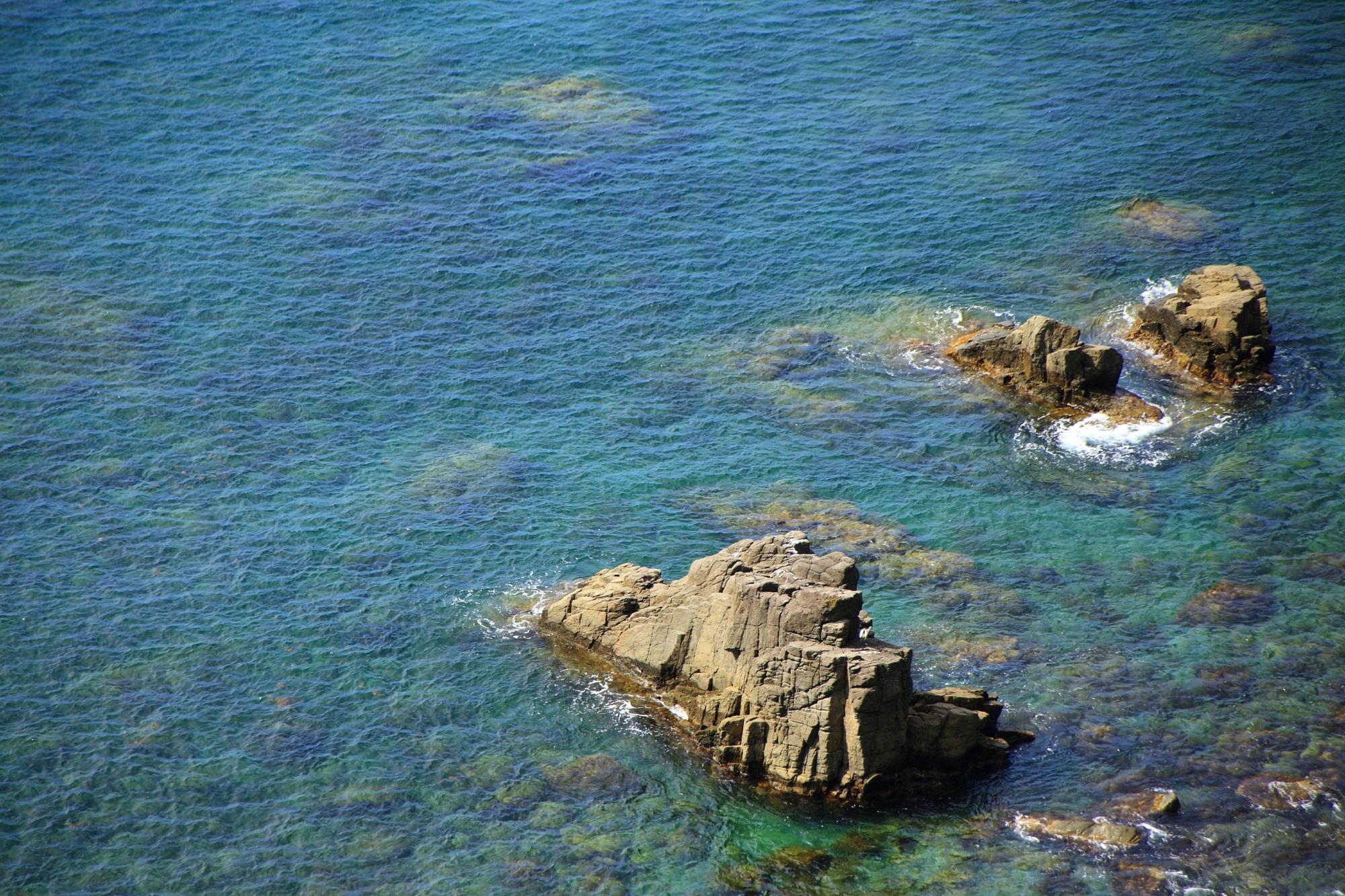 底まで透けてみえる青と緑の美しすぎる京丹後の海
