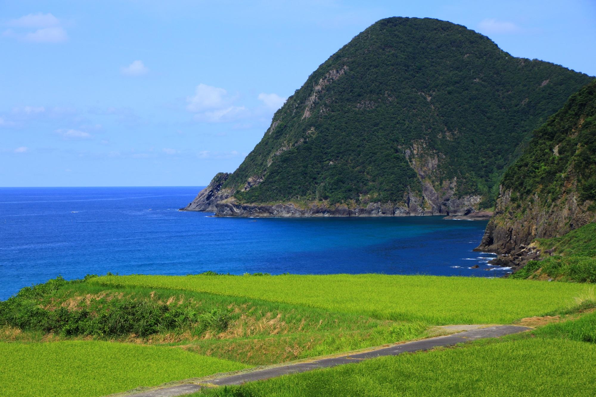 京丹後の見事な青い海と耳の垂れた犬のように見える犬ヶ岬