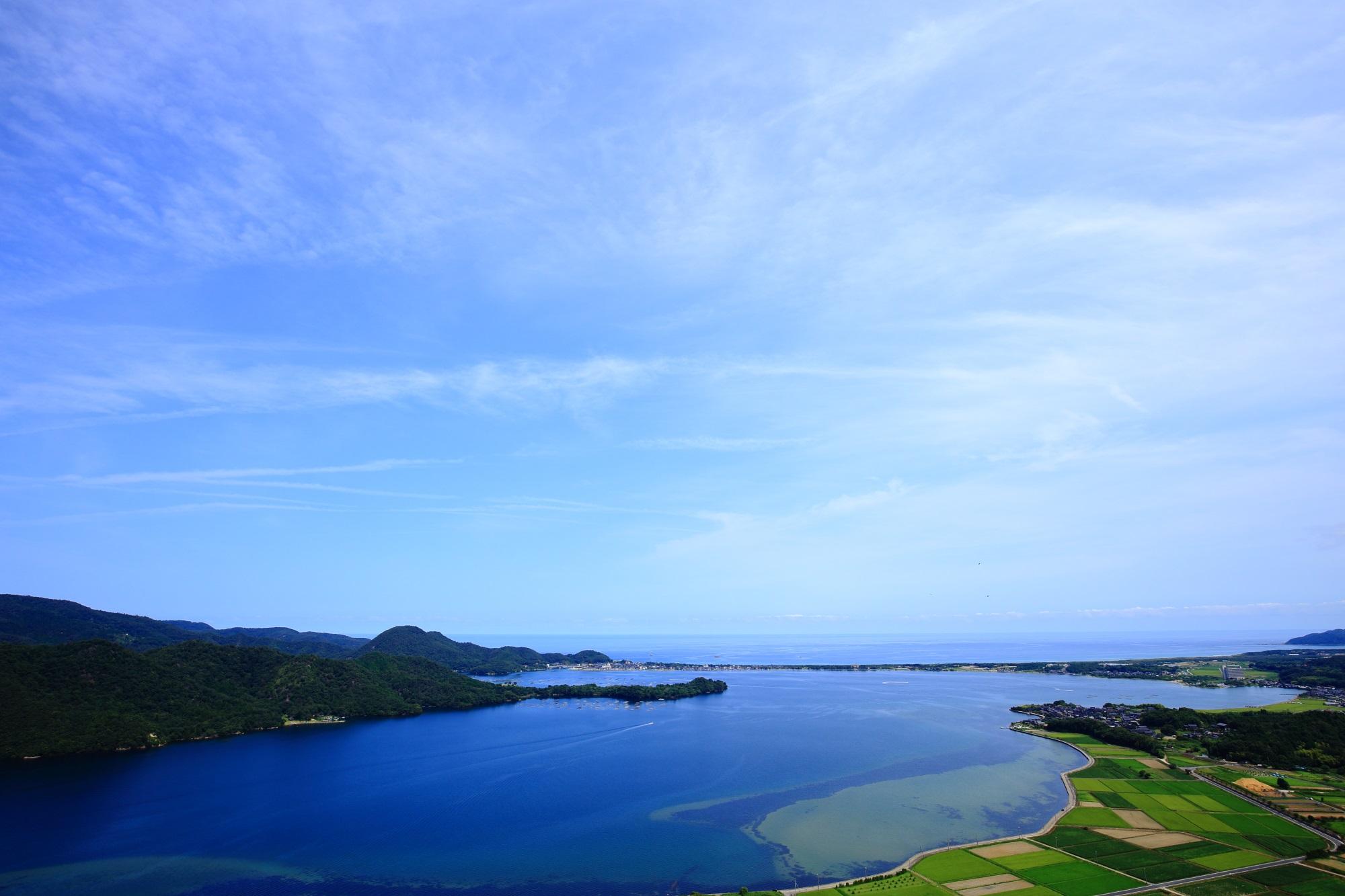 久美浜湾や日本海の素晴らしい景色や田園などの情景