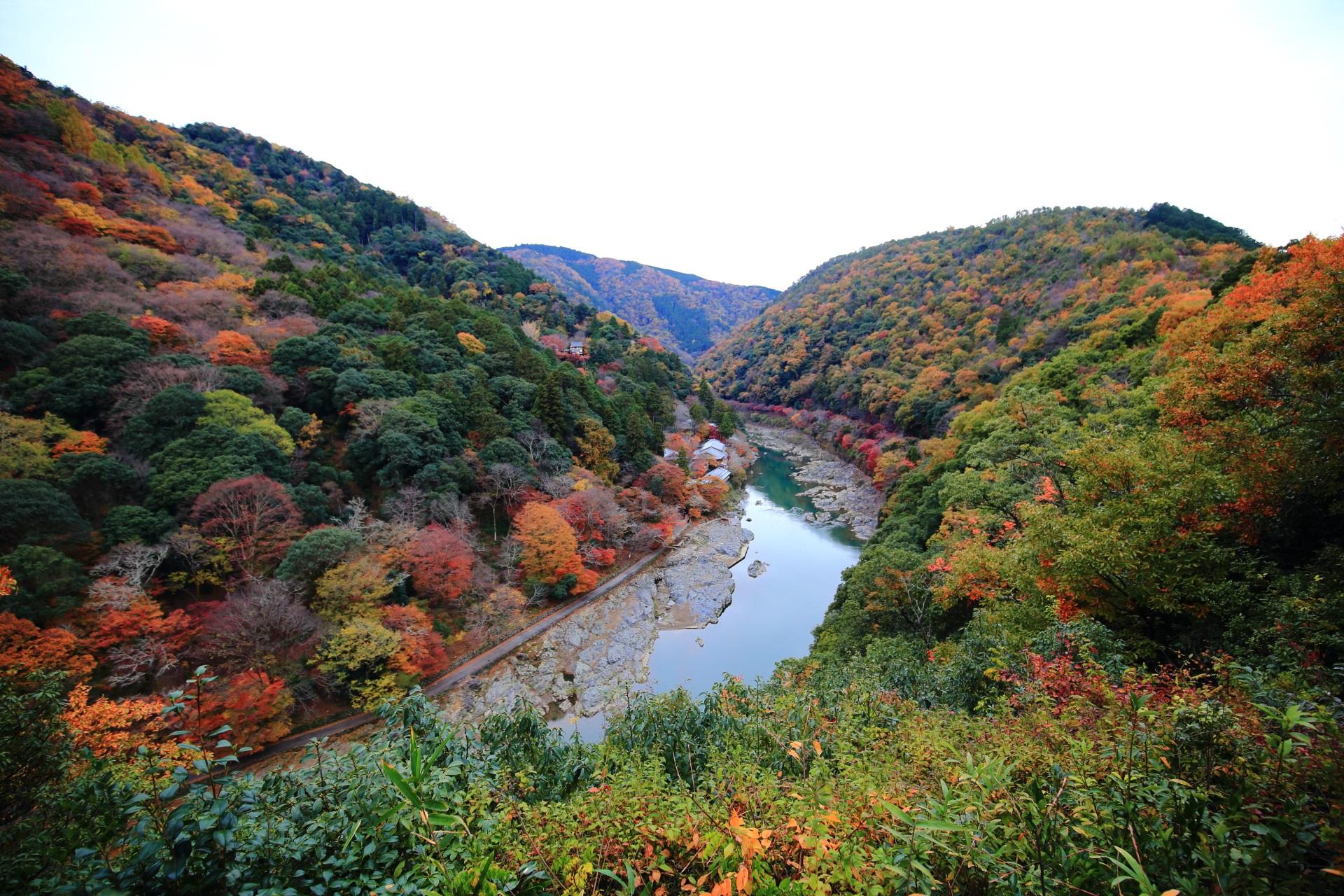 高画質 嵐山 亀山地区 紅葉 画像