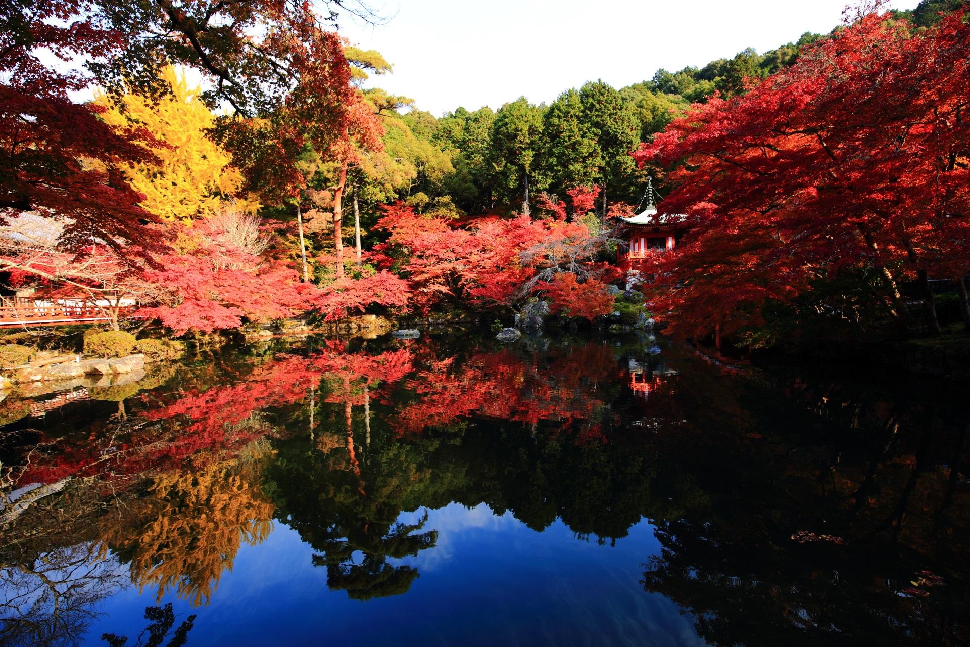 醍醐寺の弁天堂の紅葉と水鏡