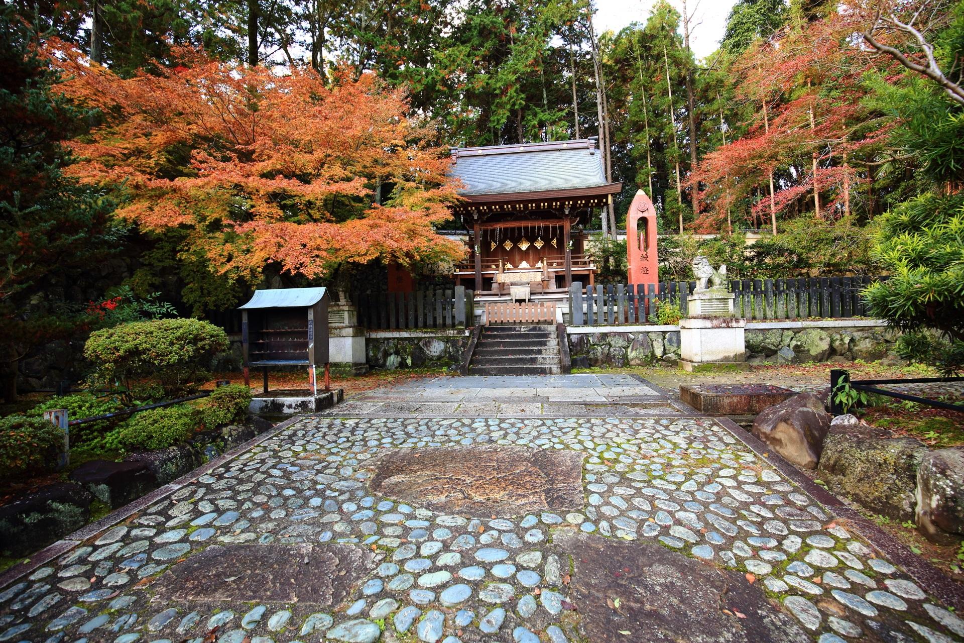 淡い秋色につつまれる織姫社と紅葉