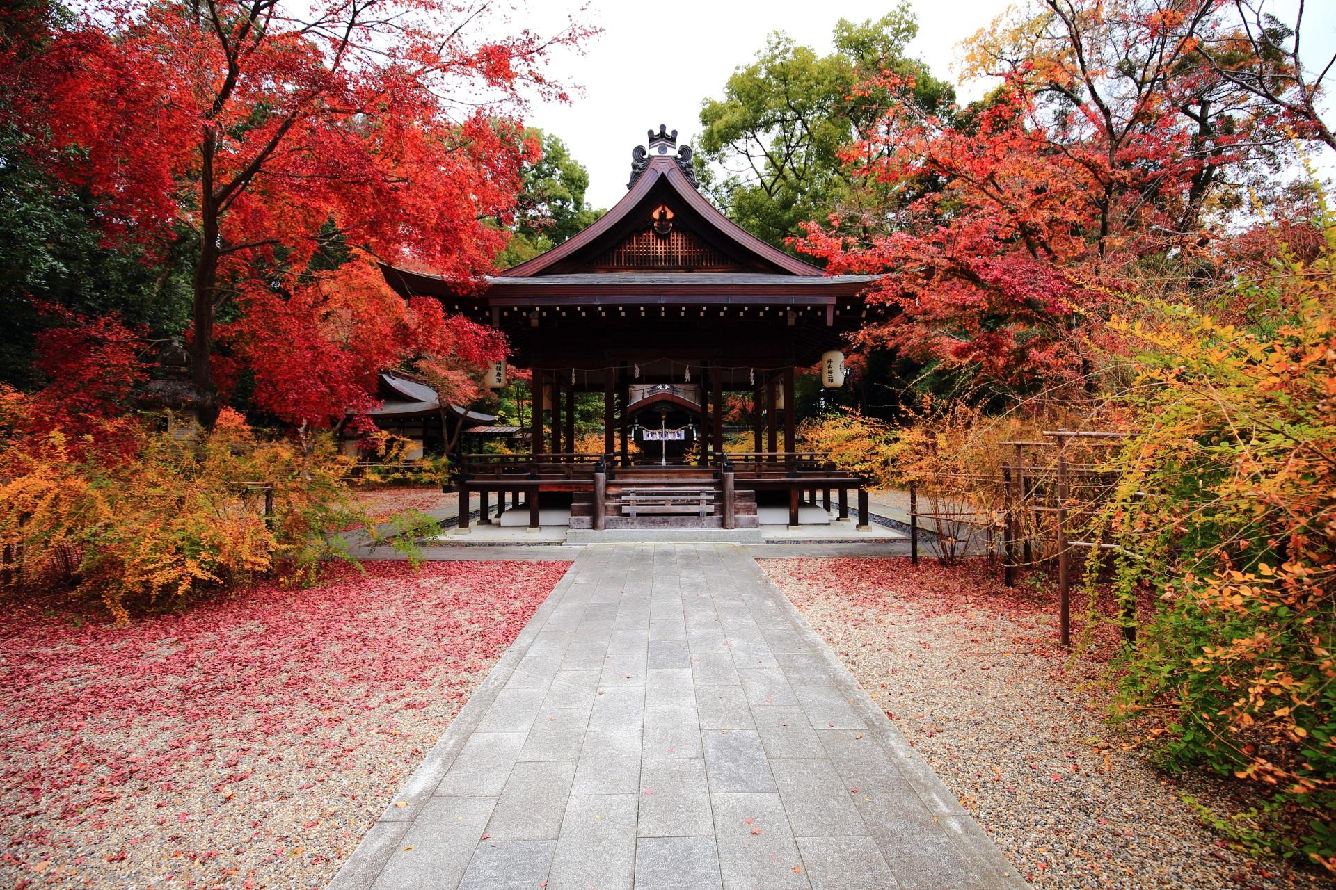 梨木神社の多彩な紅葉と秋の情景