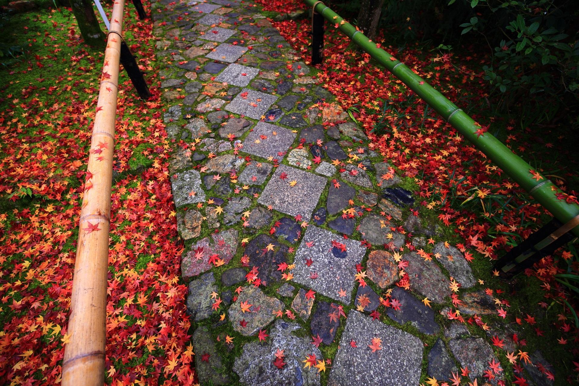 多彩な散りもみじにつつまれる情緒たっぷりの参道の石畳