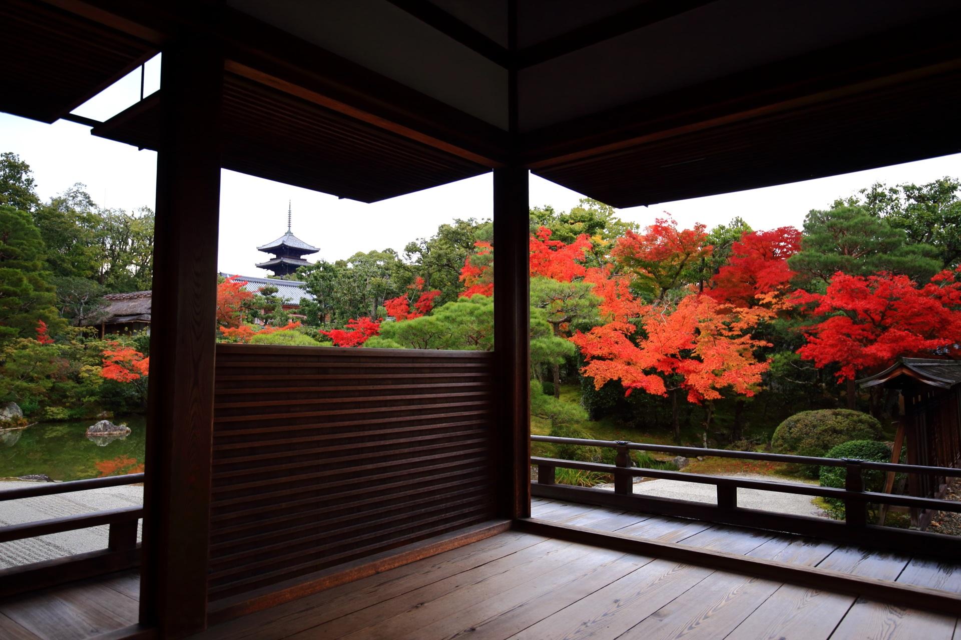 深い緑や御殿の茶色の庇に映える鮮やかな紅葉