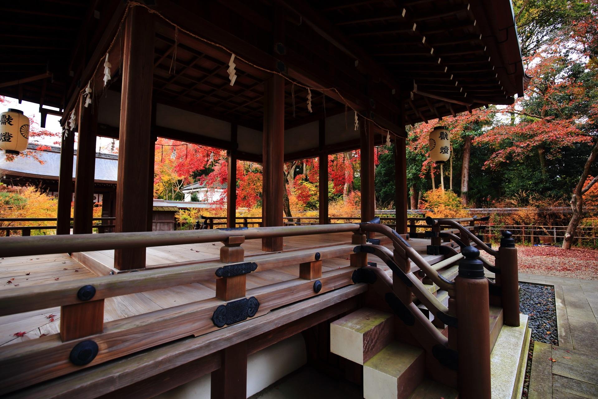 梨木神社の拝殿下から眺めた色とりどりの秋に染まる境内