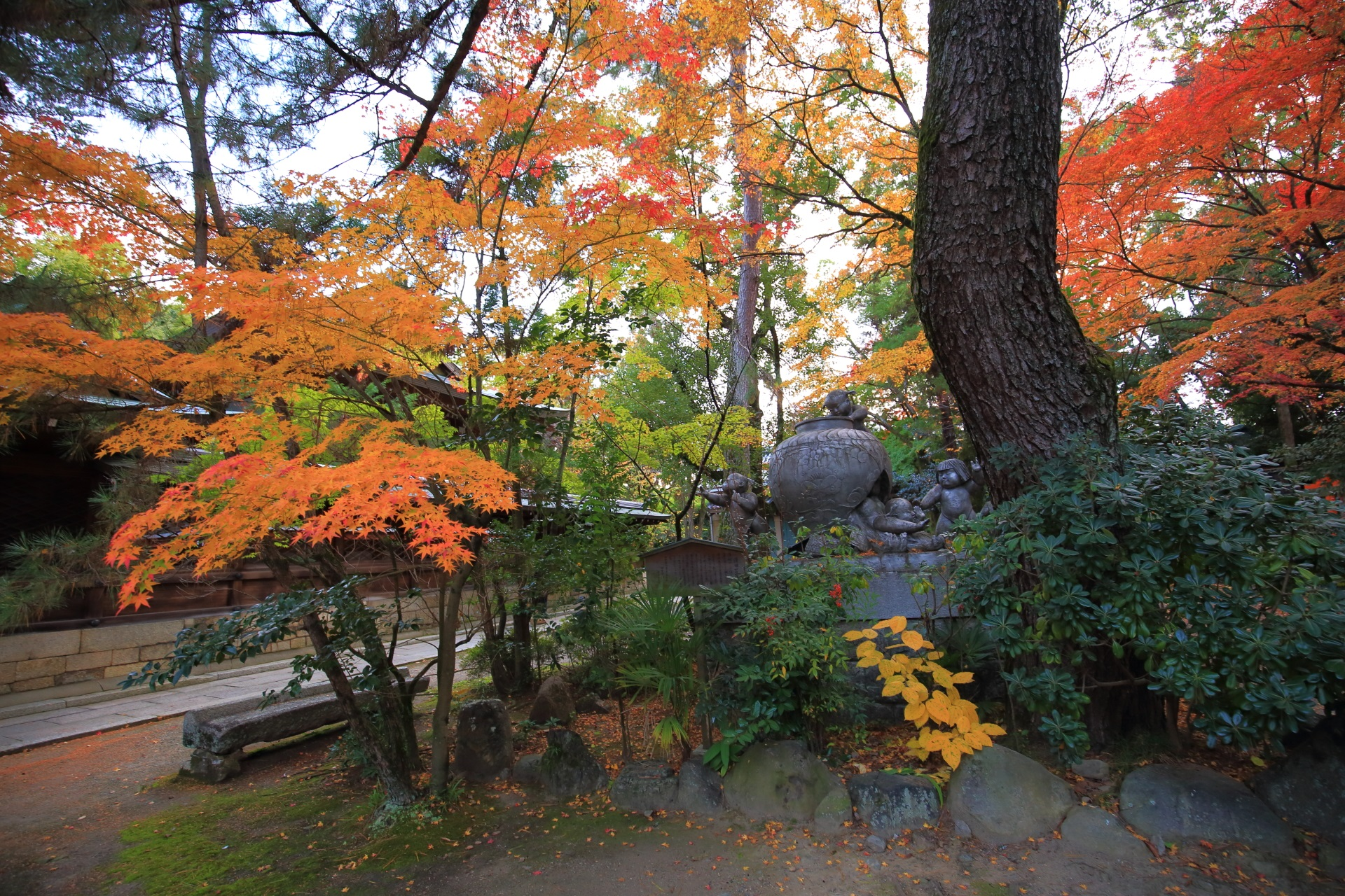 上御霊神社(かみごりょうじんじゃ)の静かで多彩な秋の空間