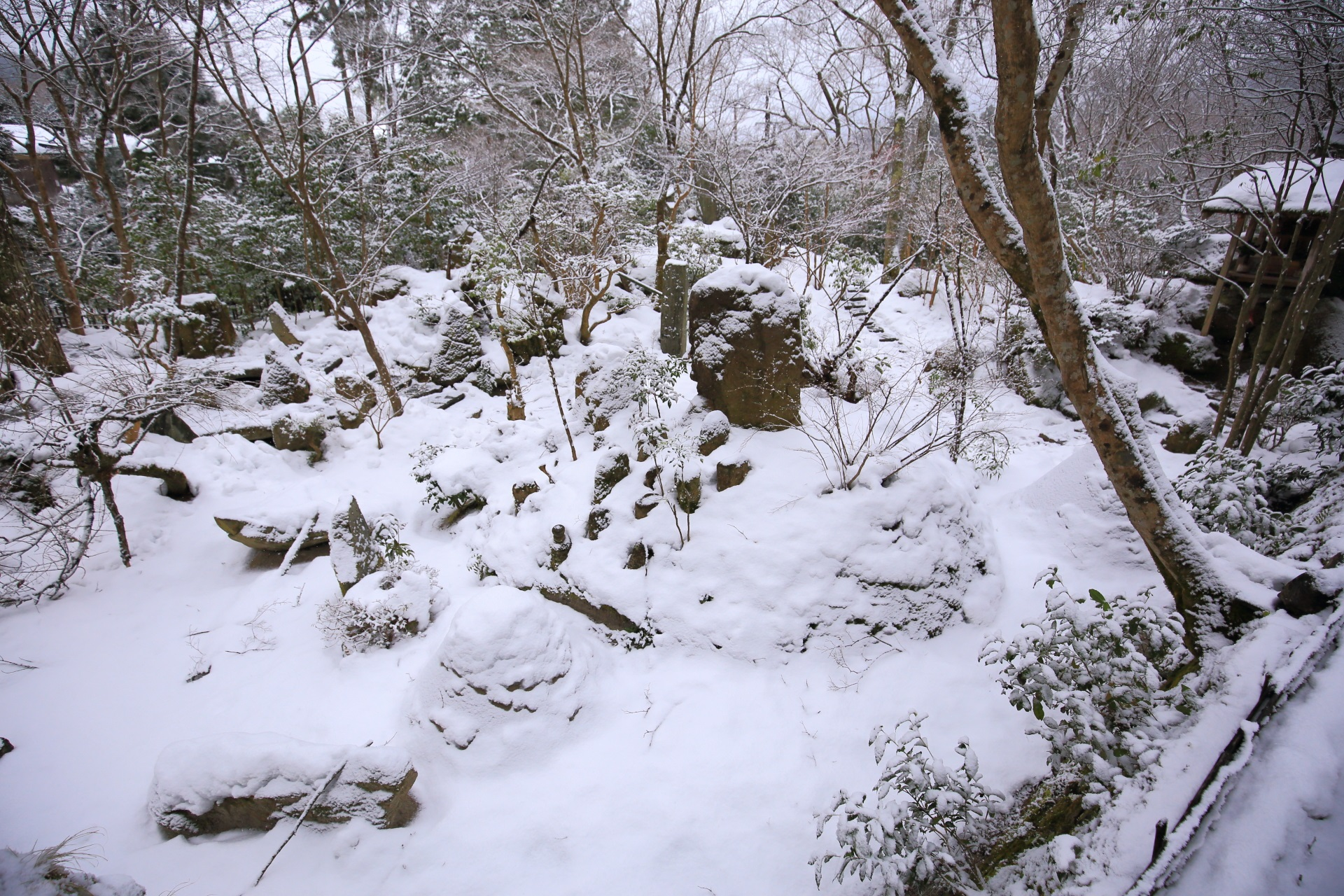 snowy landscape Hosen-in Temple in Kyoto,Japan