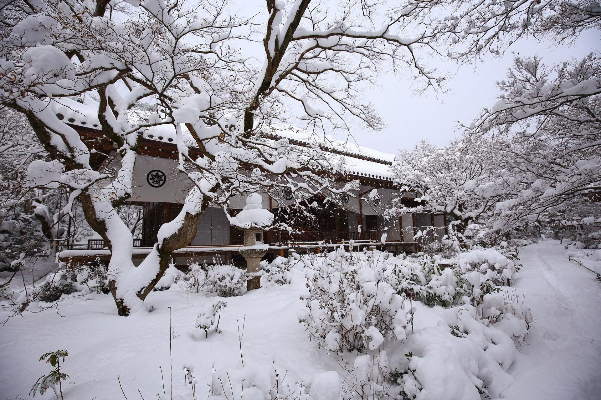 絵になる冬の常寂光寺の本堂の雪景色
