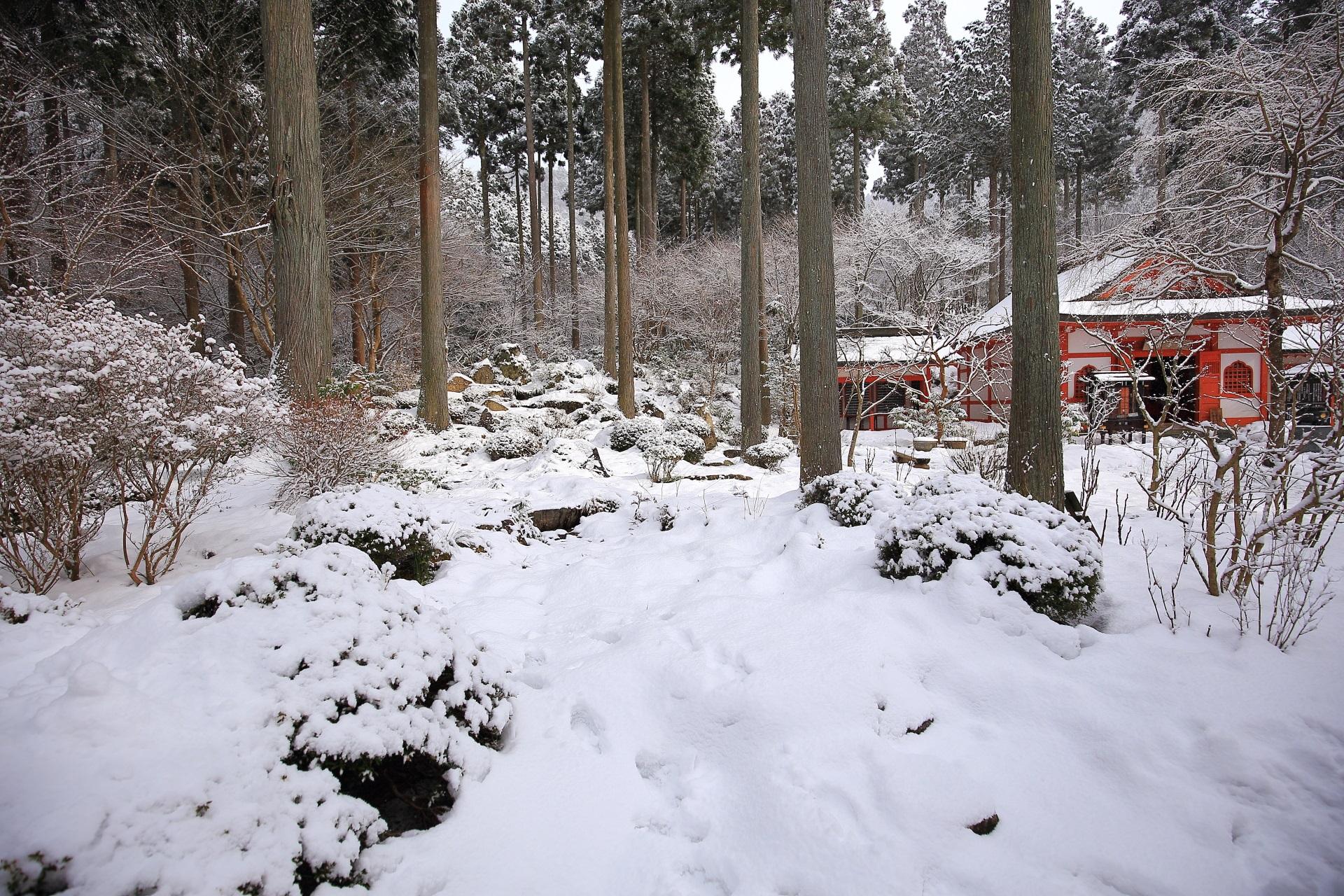 慈眼の庭の雪景色