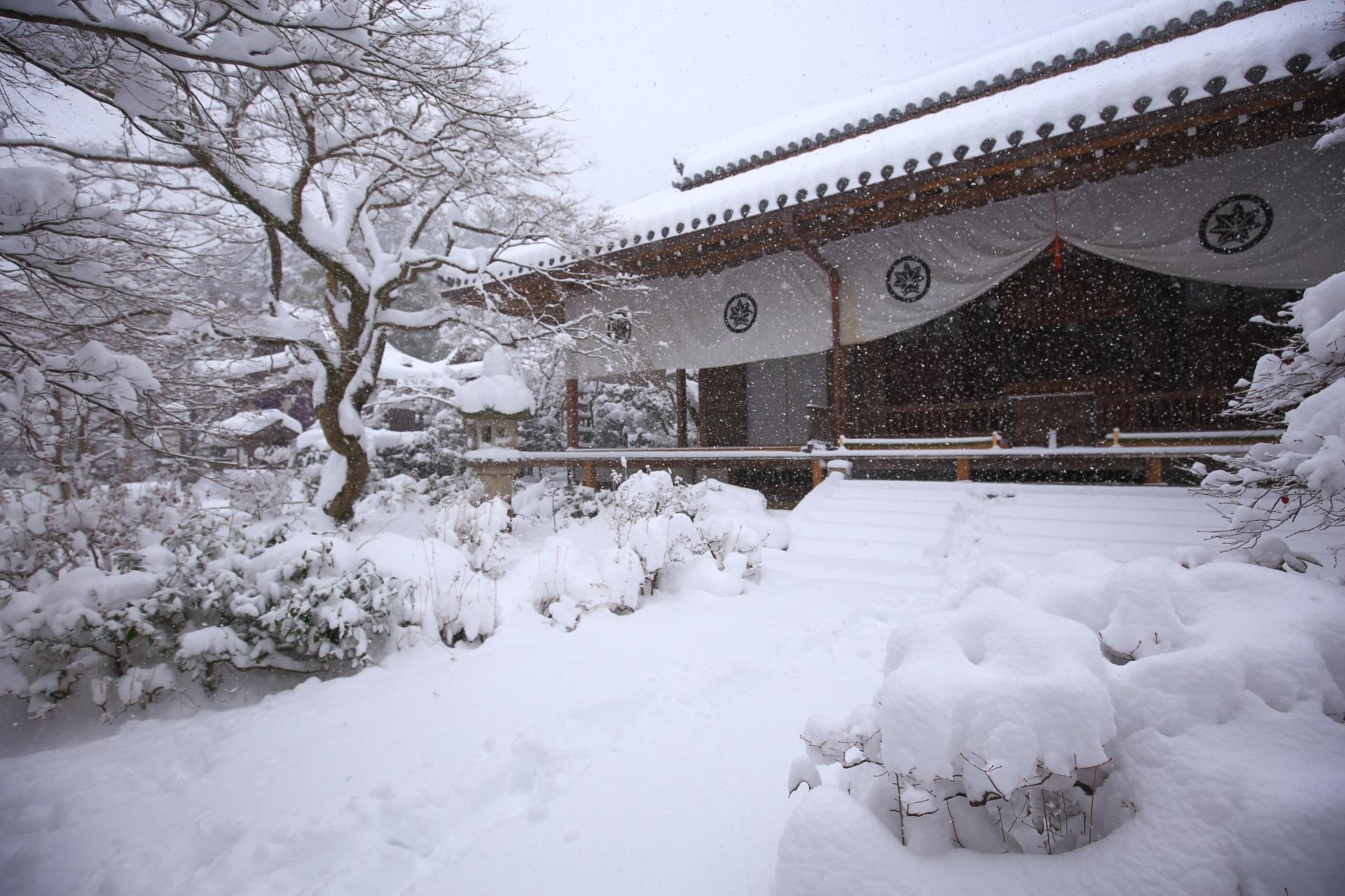 雪が降る本堂の冬景色