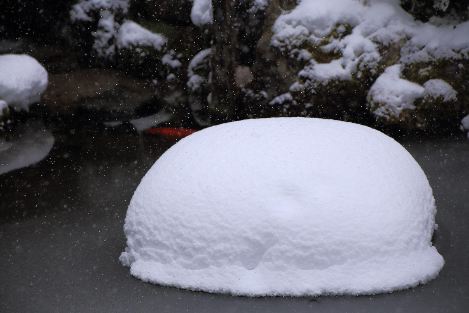 雪見大福のようなふわふわの丸い雪