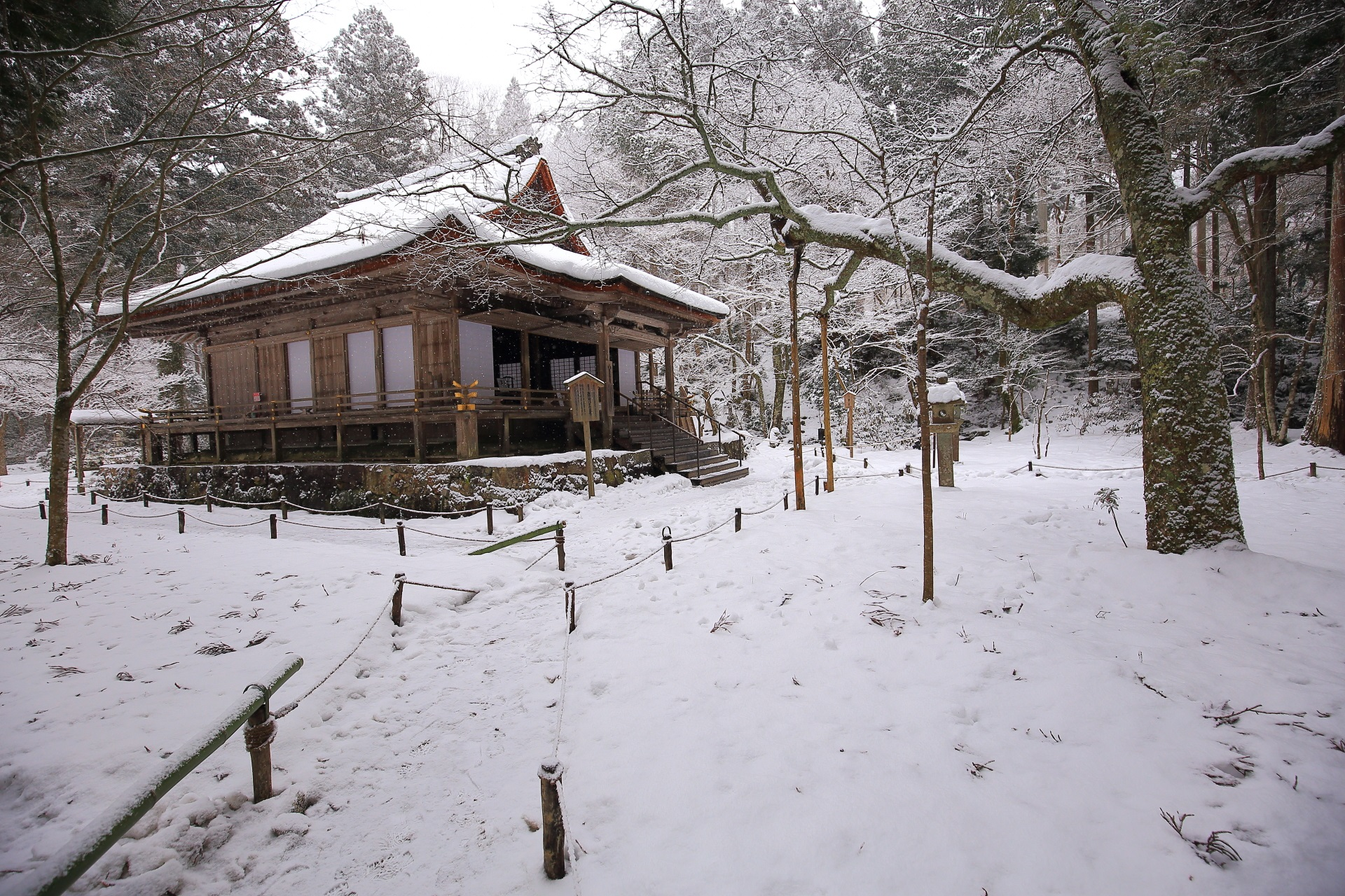 Sanzenin-Temple snowy landscape in Kyoto,Japan