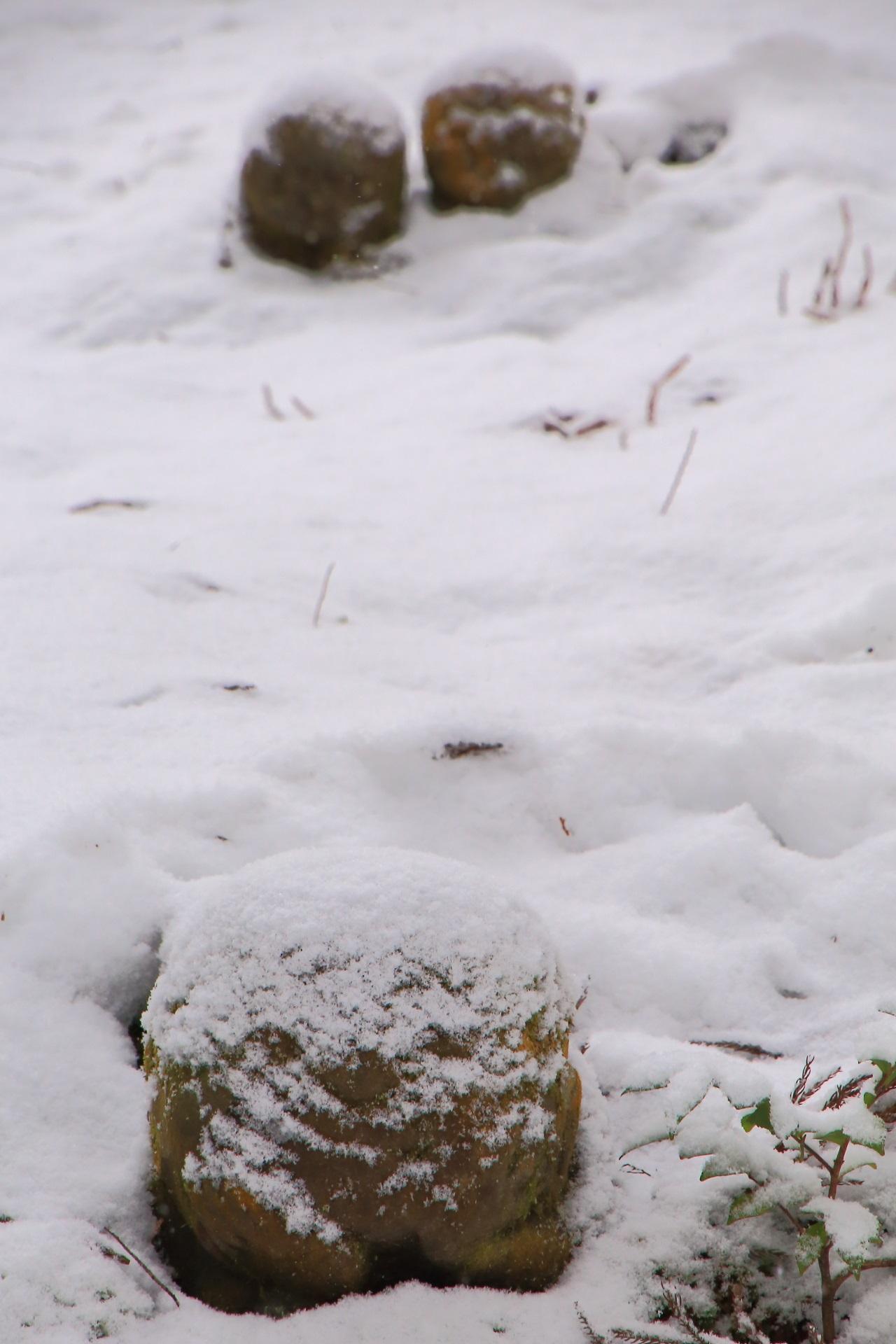 正面から表情が見える雪のわらべ地蔵