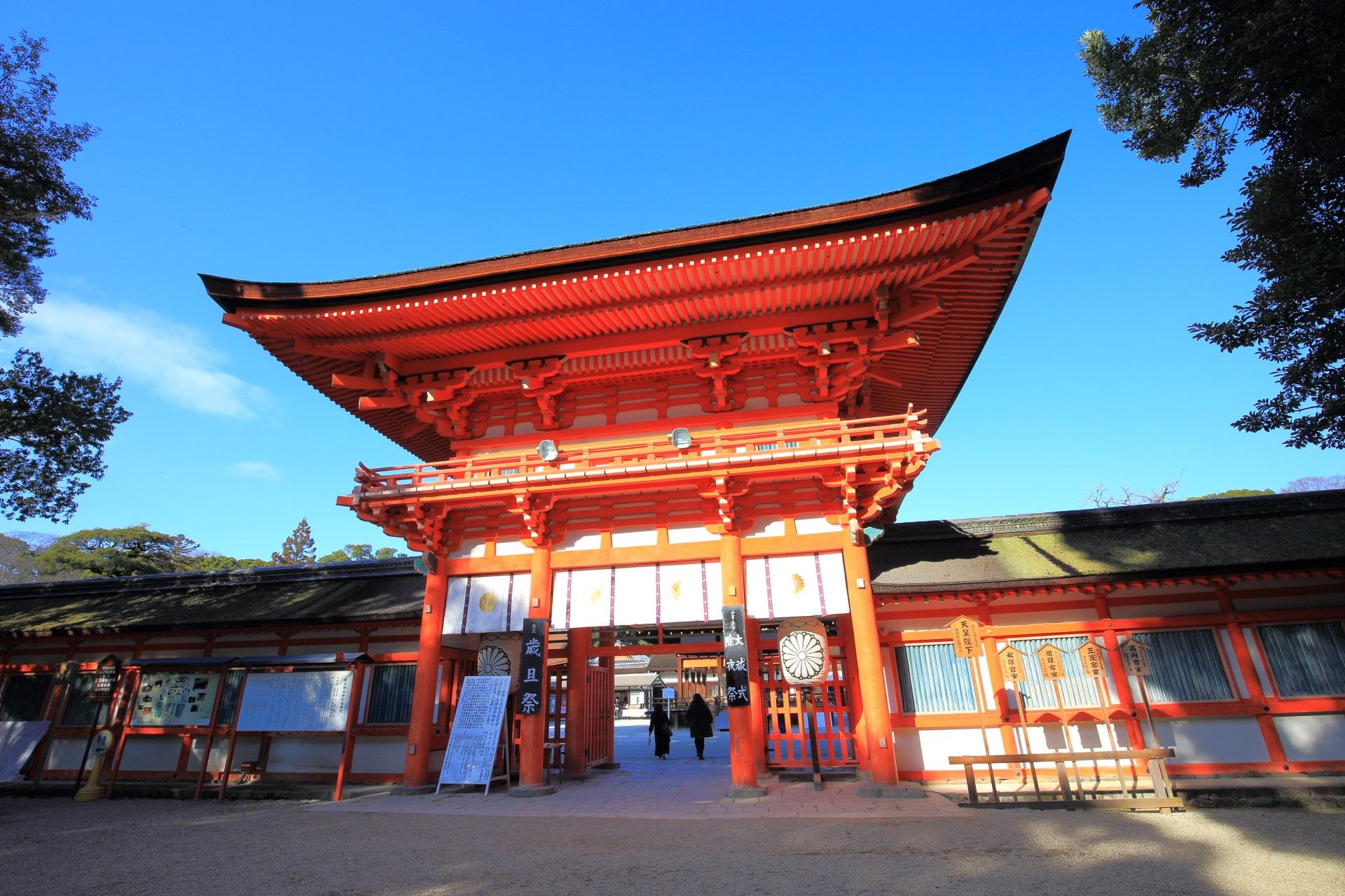 京都の世界遺産の下鴨神社の楼門