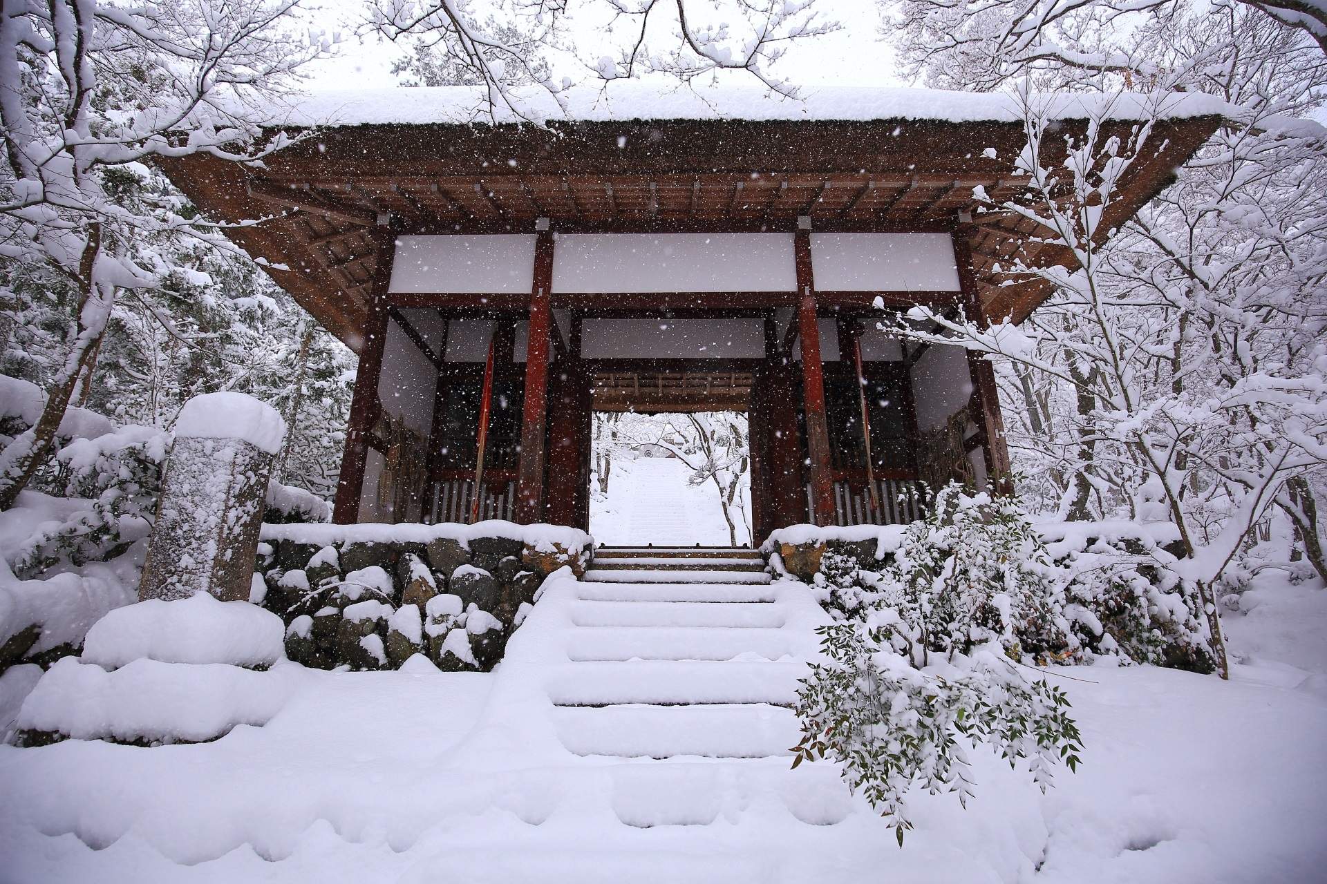 常寂光寺の茅葺屋根の山門の見事な雪景色