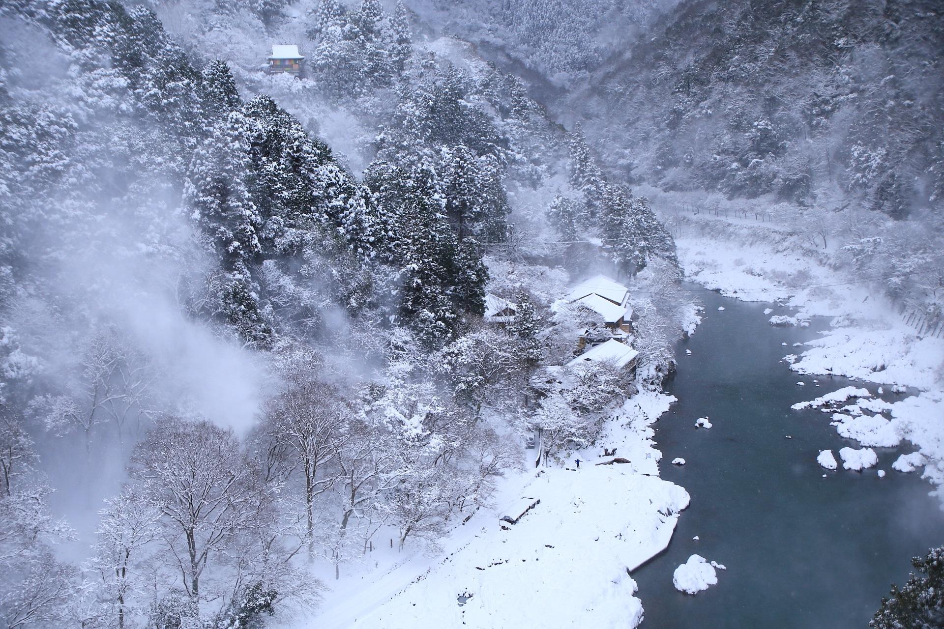 snowy landscape Arashiyama in Kyoto