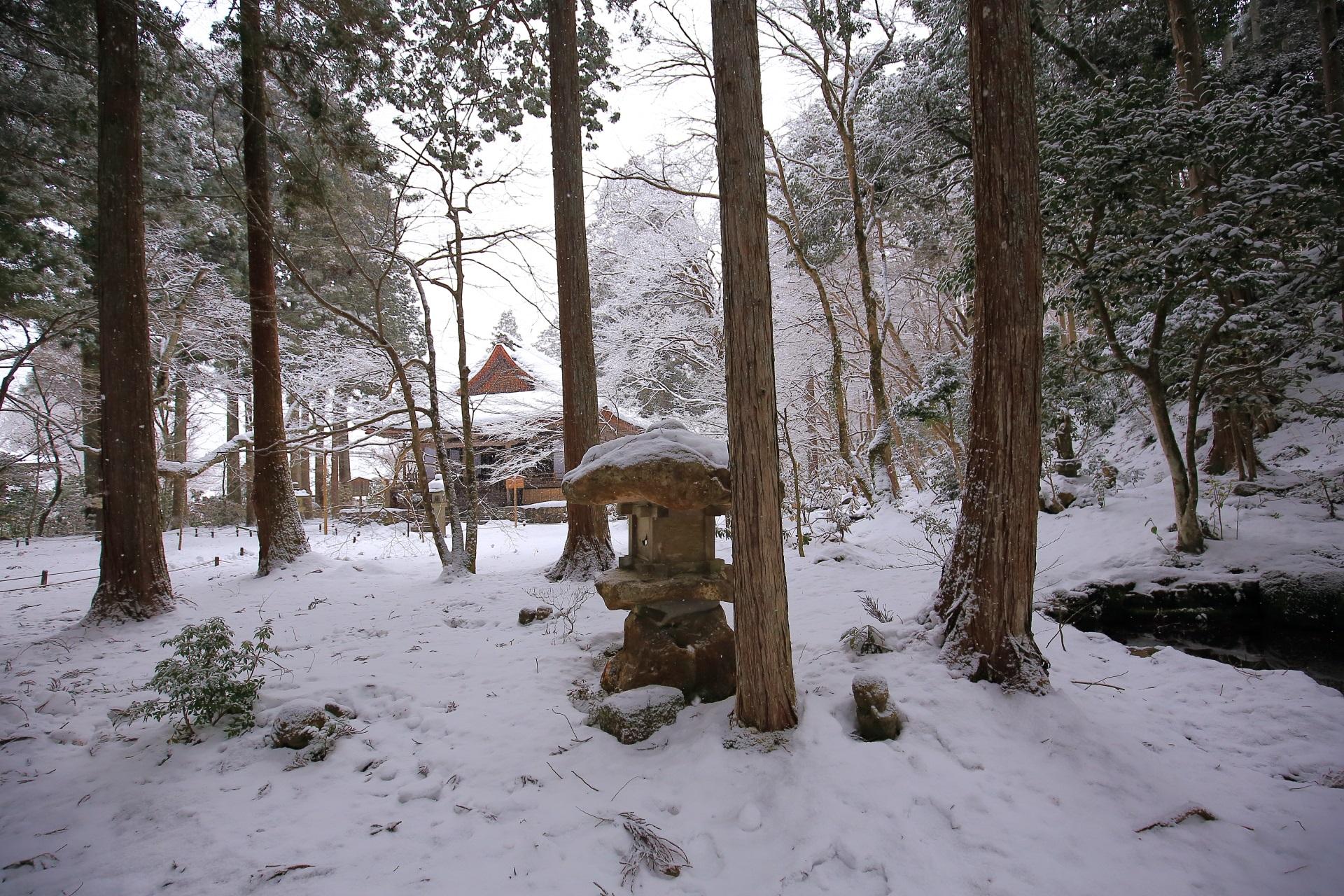 snowy landscape Sanzenin-Temple in Ohara Kyoto,Japan
