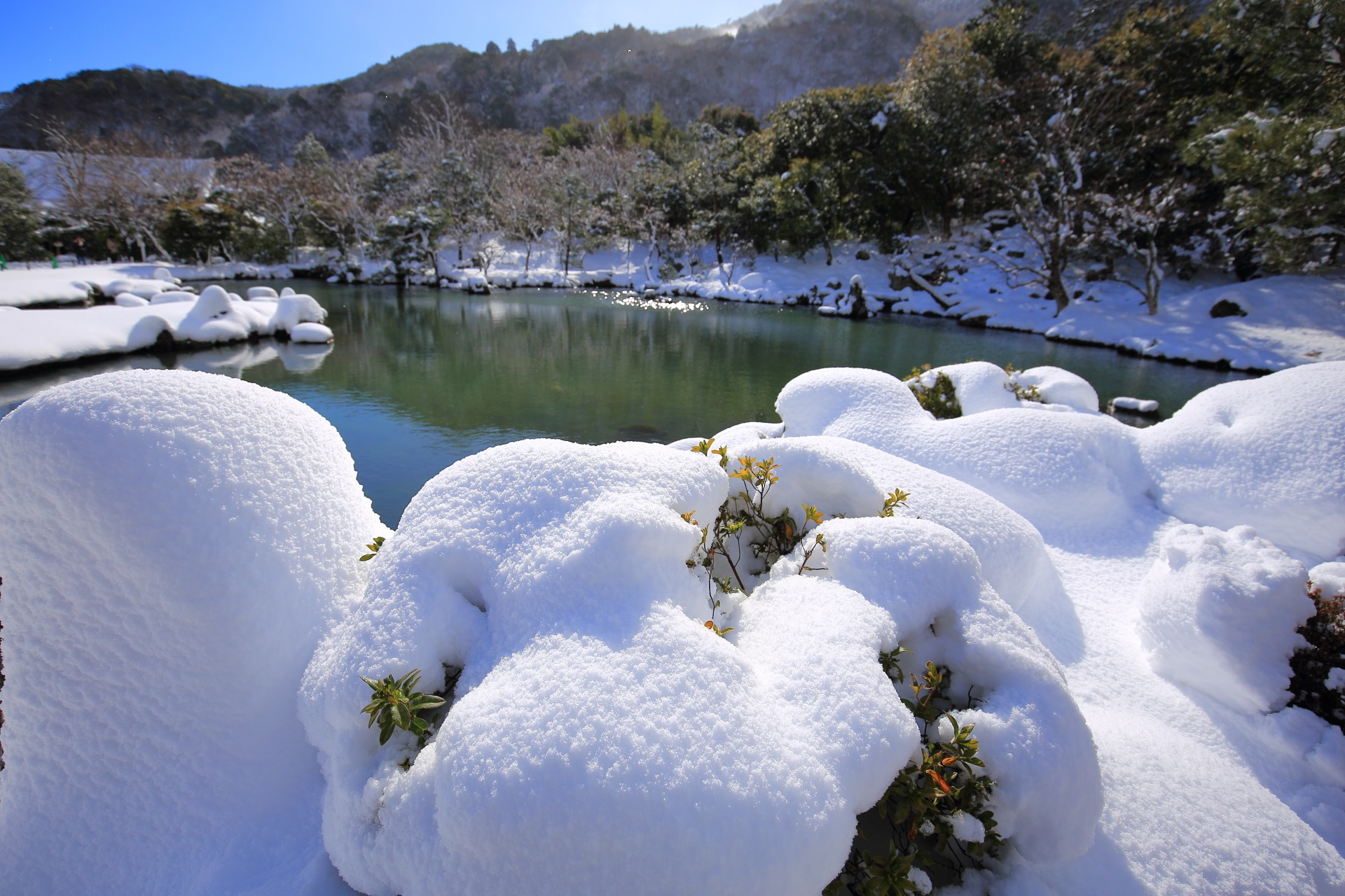 snowy landscape Tenryu-ji Temple in Kyoto,Japan