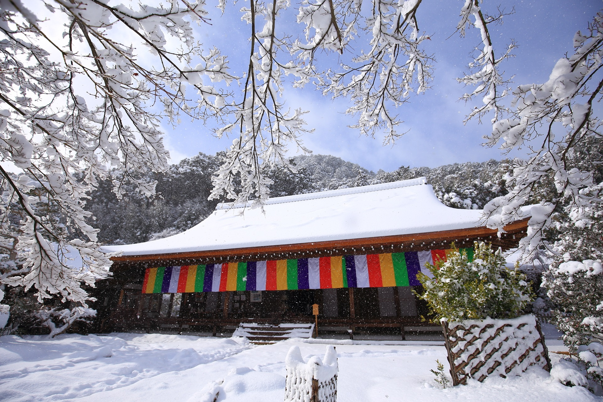 Nisonin-Temple snowy landscape in Kyoto,Japan