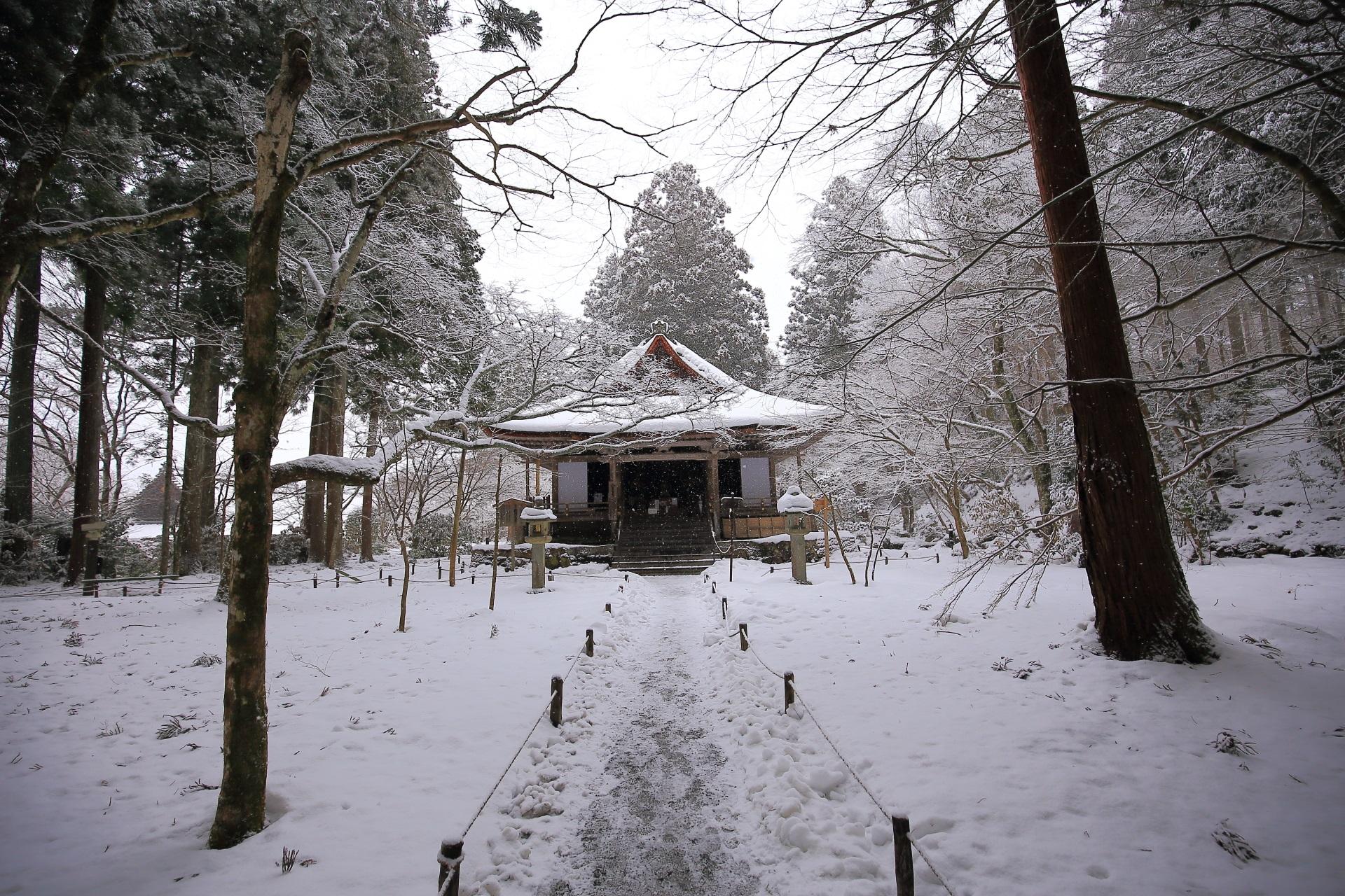 冬の大原三千院の絵になる雪景色