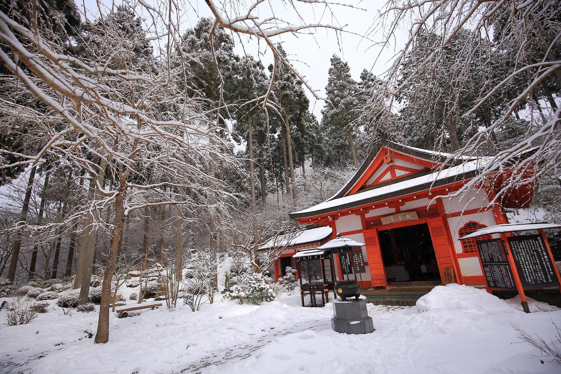 観音堂の雪景色