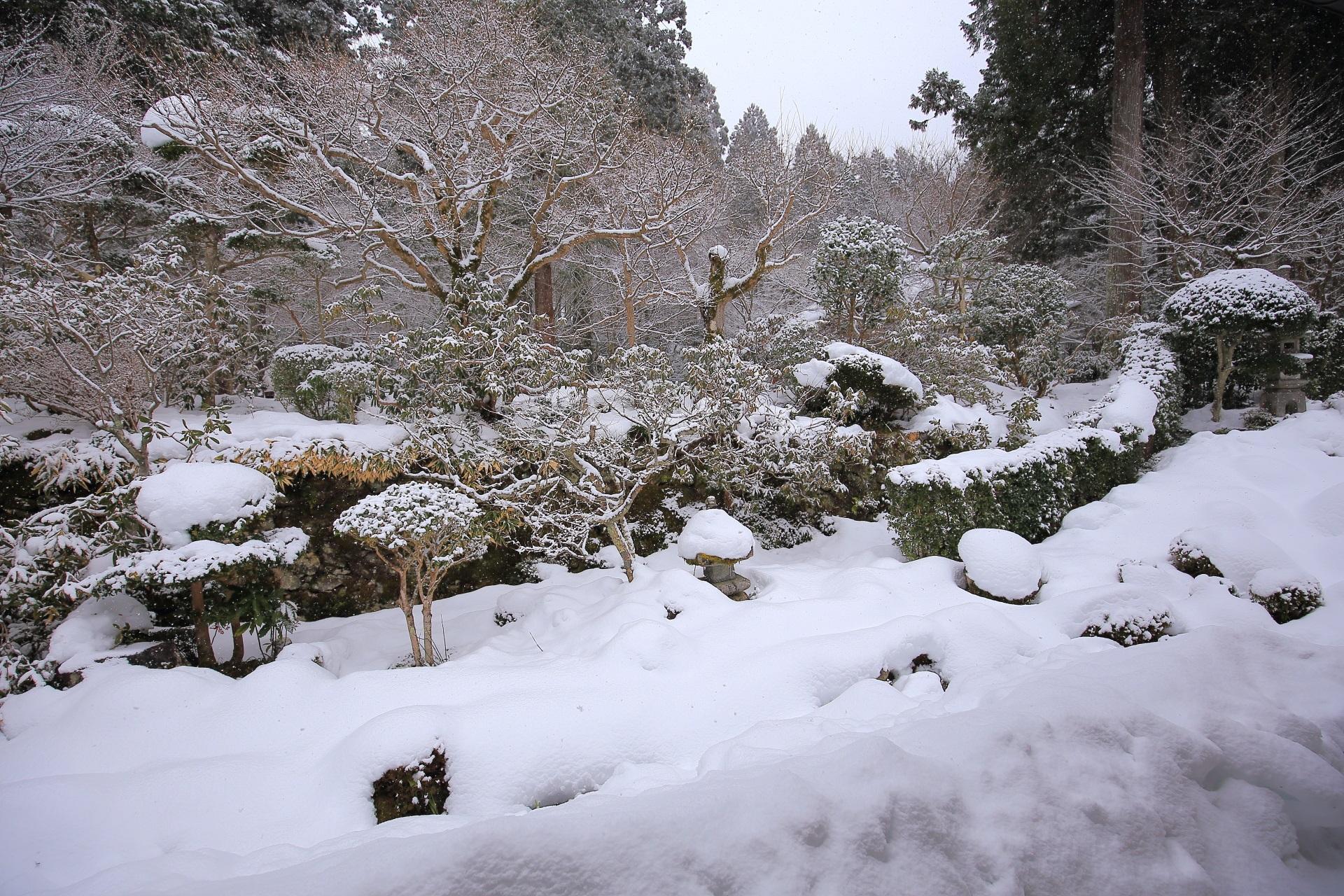 雪でいっぱいの大原三千院庭園