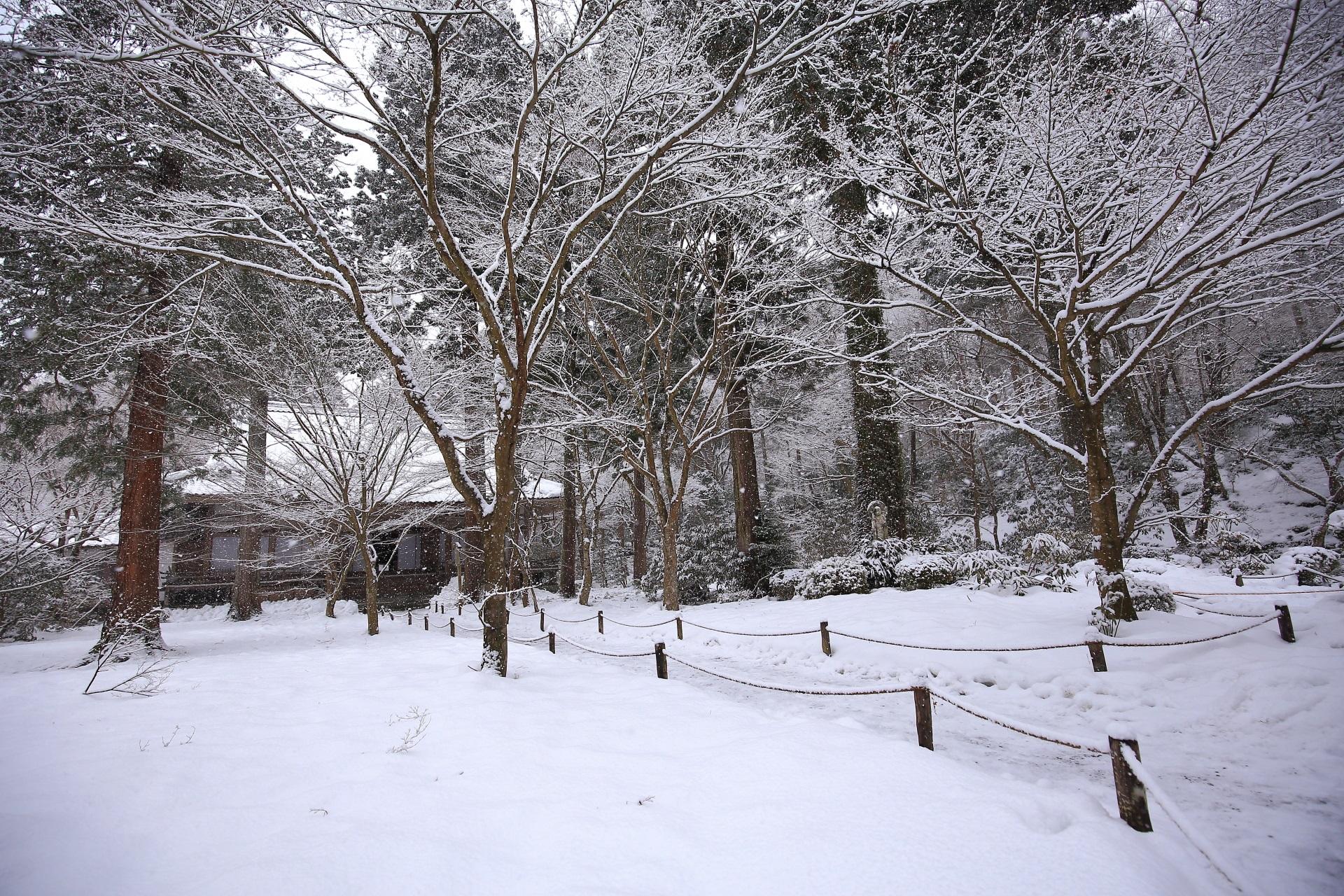 三千院 雪 京都大原の白銀の冬景色とわらべ地蔵