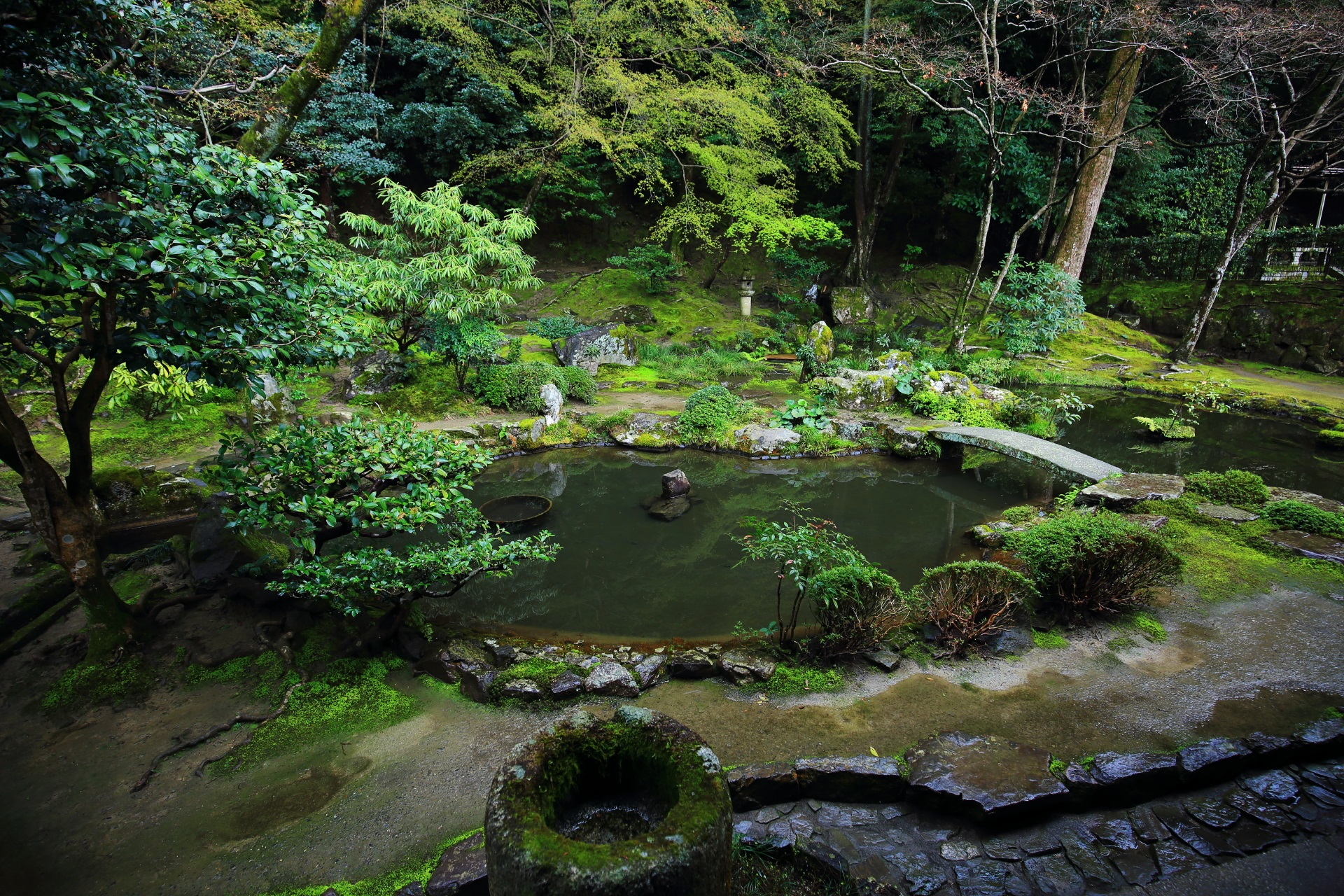 風情ある庭園の中央の心字池