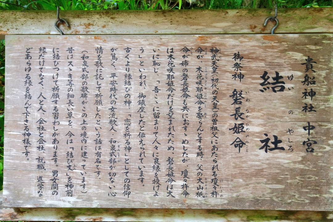 貴船神社の中宮の結社(ゆいのやしろ)の説明