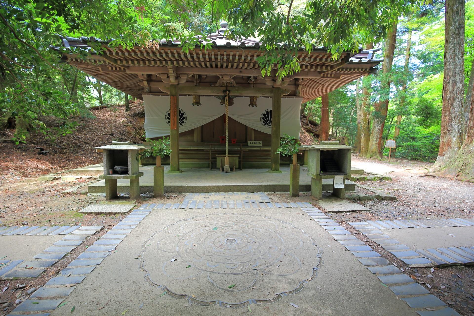 近くの池にはモリアオガエルも生息する自然の中に佇む鞍馬寺の不動堂