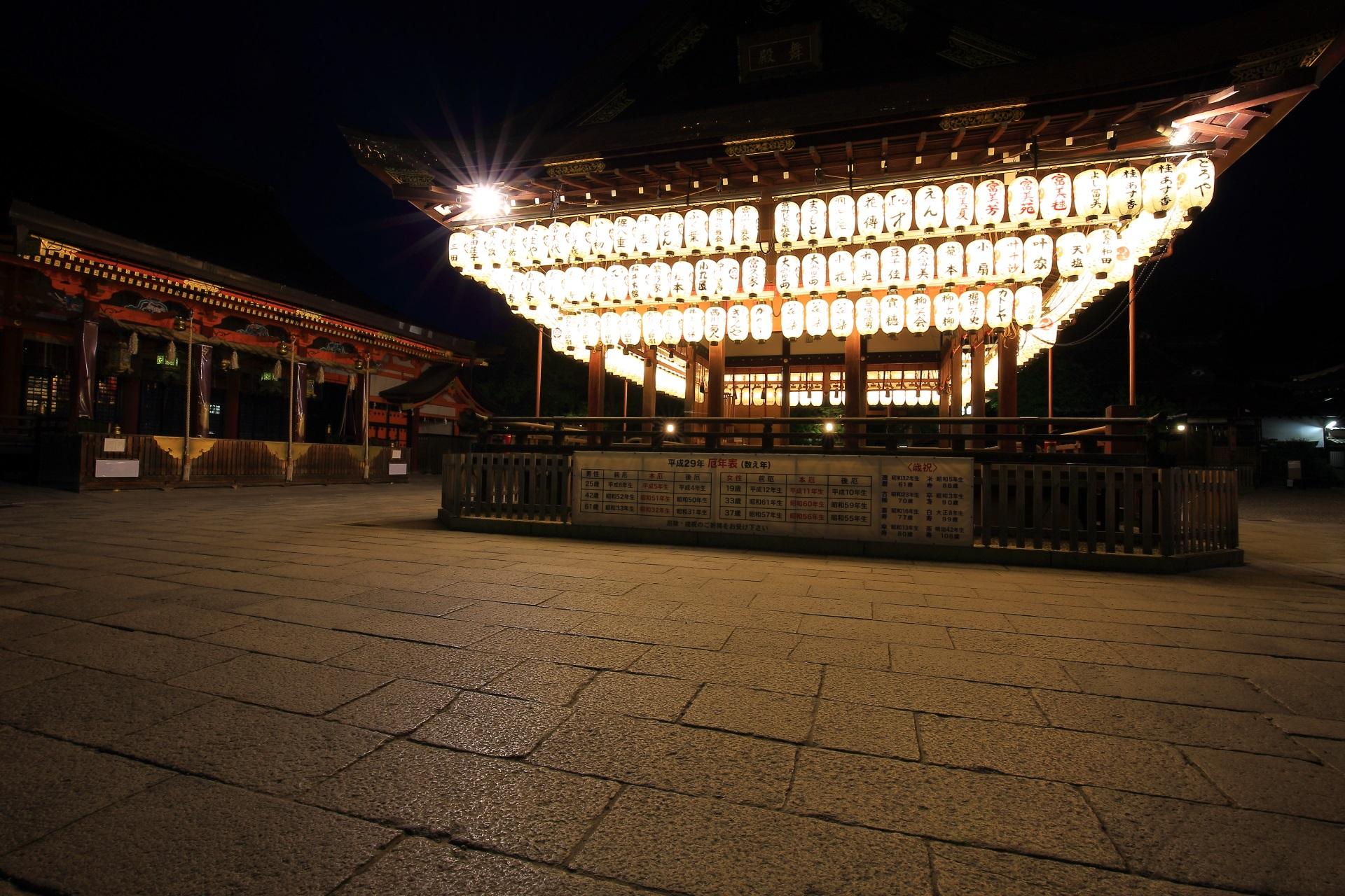 風情ある拝殿の提燈