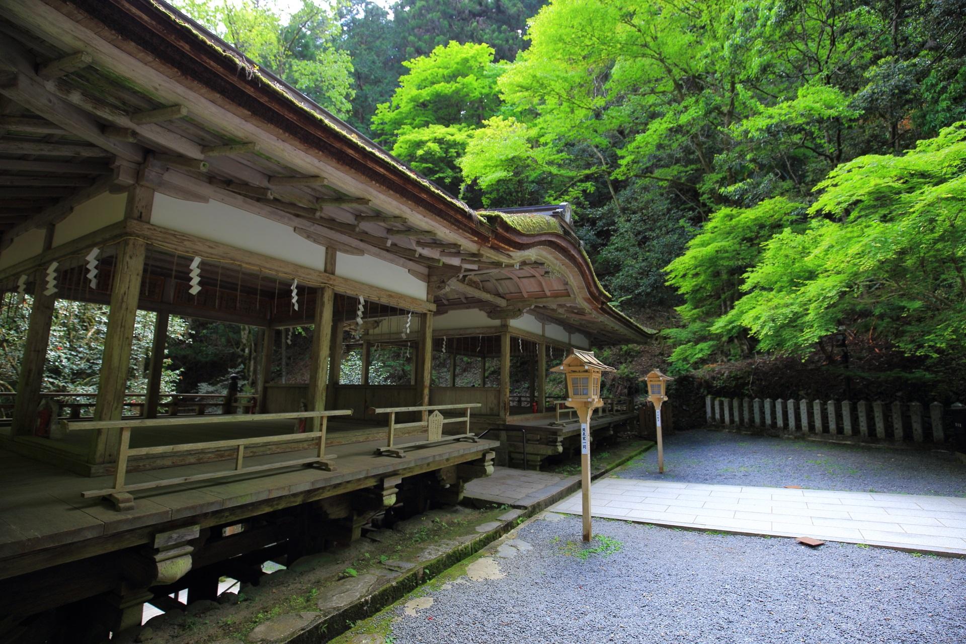 鮮やかな緑につつまれた由岐神社の拝殿