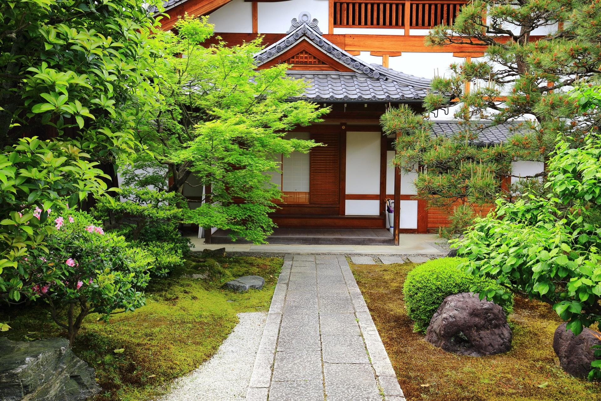 落ち着いた雰囲気と緑が美しい正伝永源院の玄関