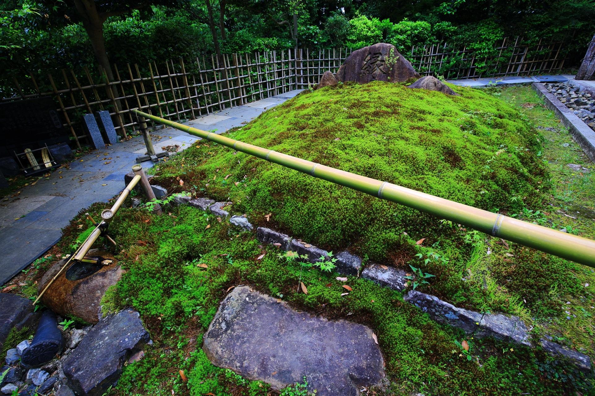 綺麗な苔に包まれた安楽寺の本堂横の「縁」の石碑
