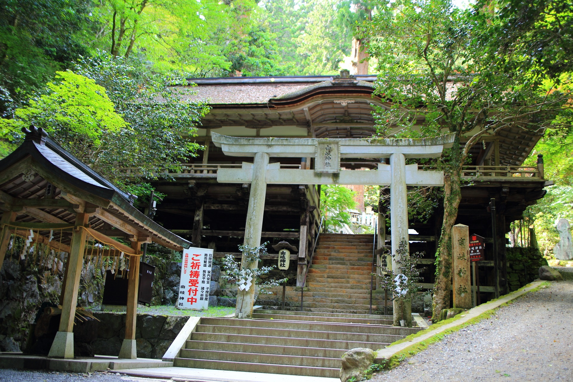 由岐神社の鳥居と拝殿
