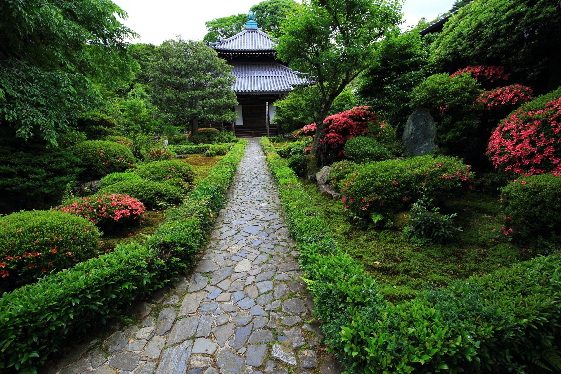 安楽寺の本堂とピンクのサツキが彩る緑の庭園