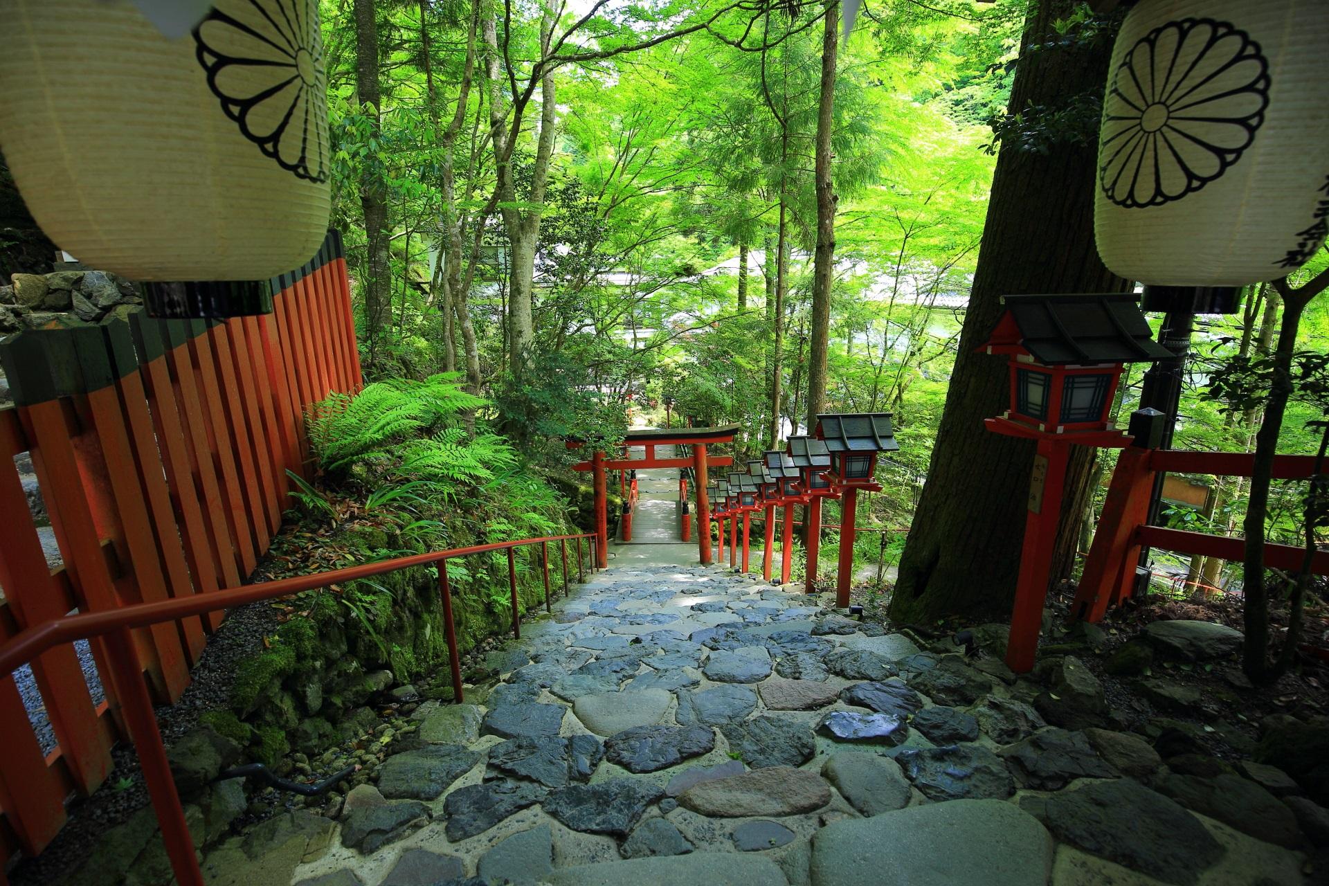 風情ある貴船神社の参道