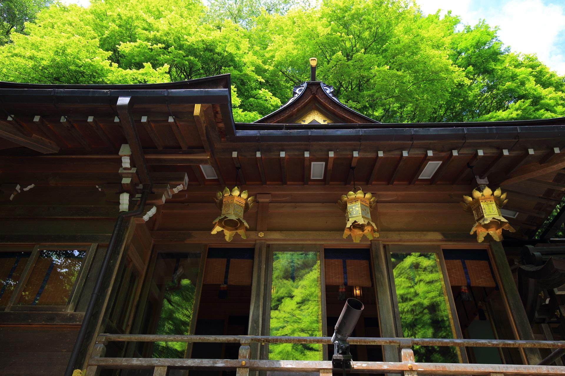 貴船神社の本宮と新緑