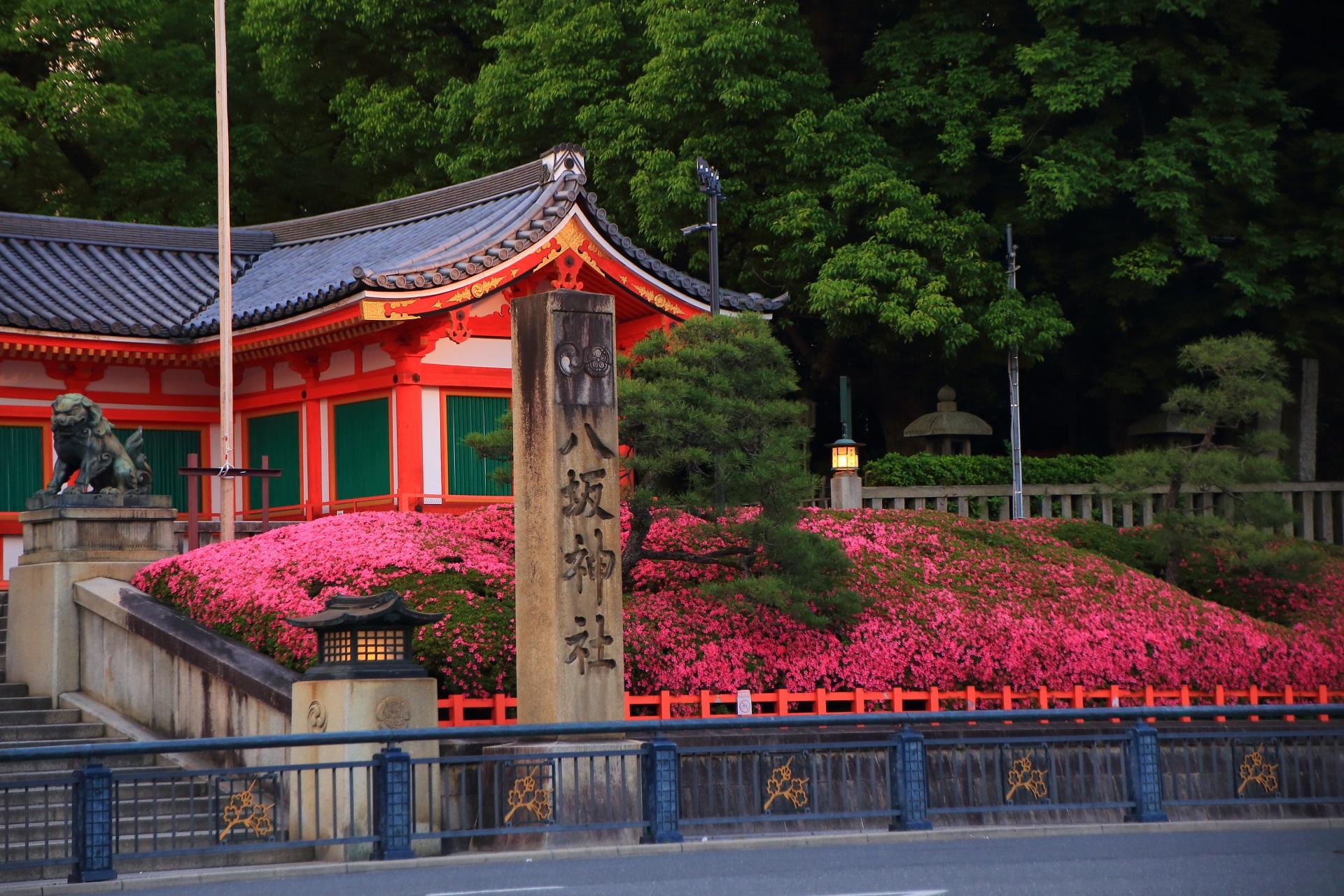 鮮やかなサツキに彩られた西楼門