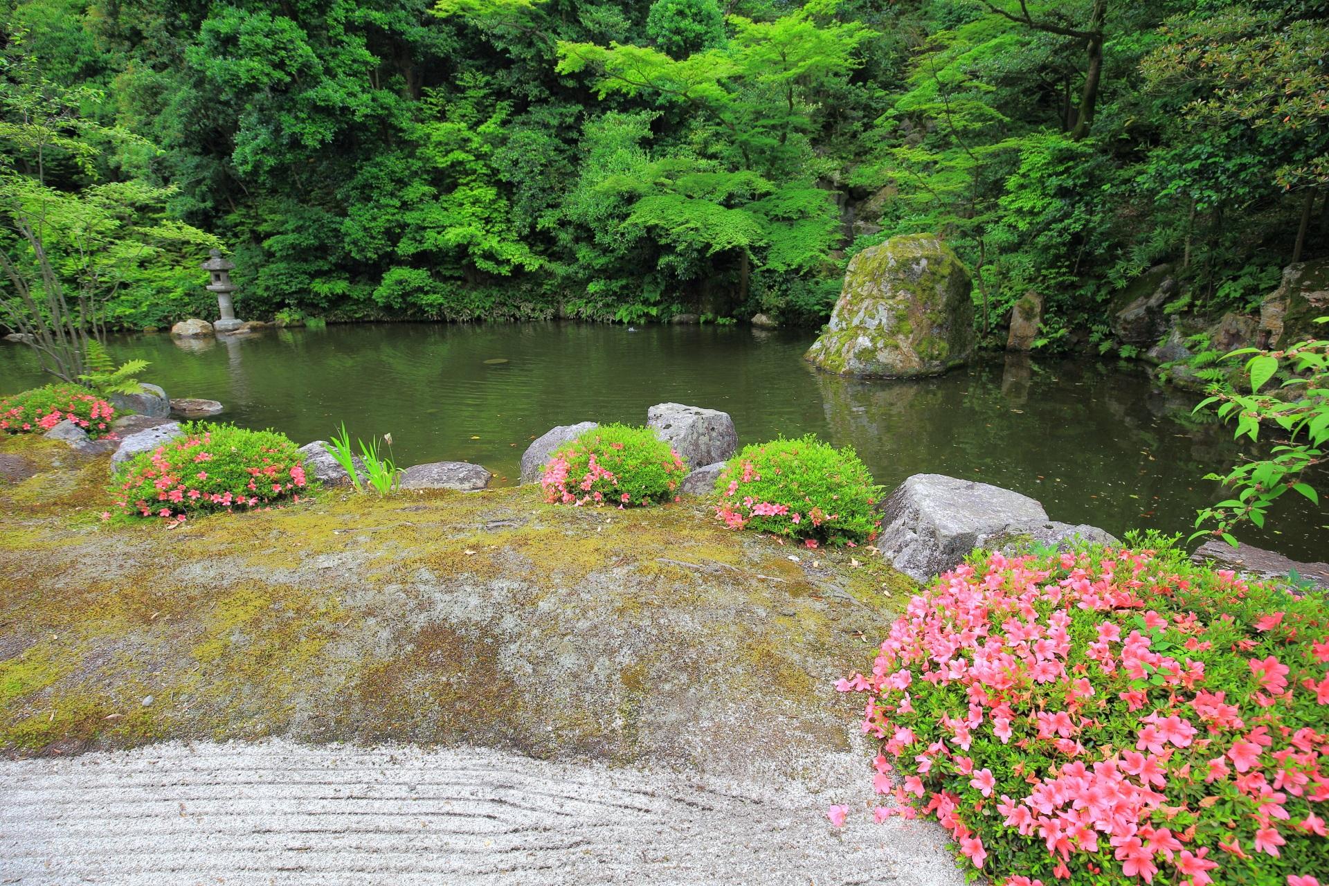 大方丈や小方丈前に広がる知恩院の池泉式の方丈庭園