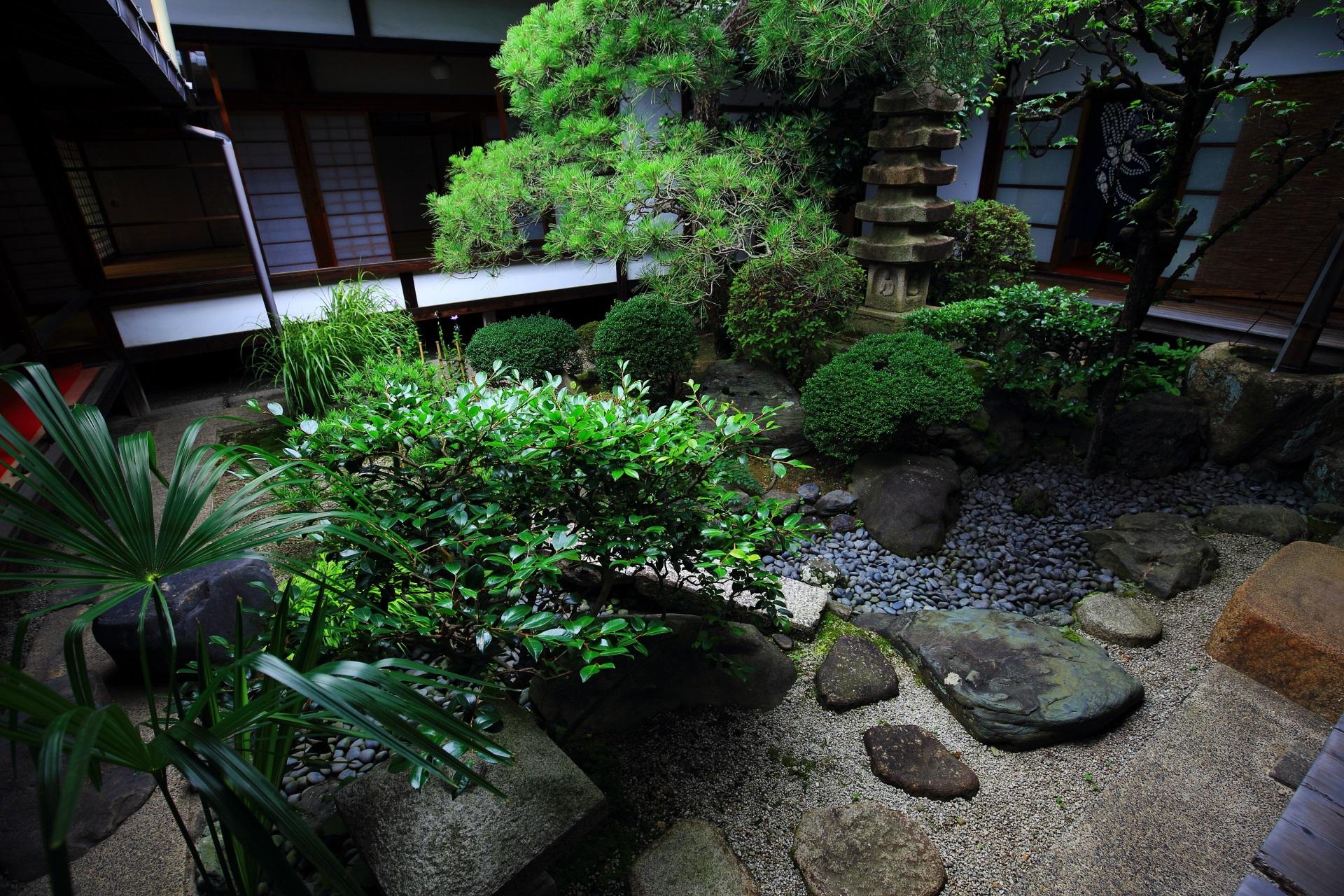 緑と石の美しい妙蓮寺の中庭