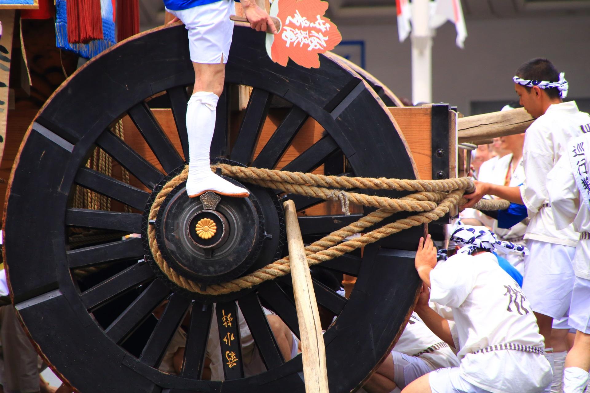 菊水鉾の車輪の菊の紋様