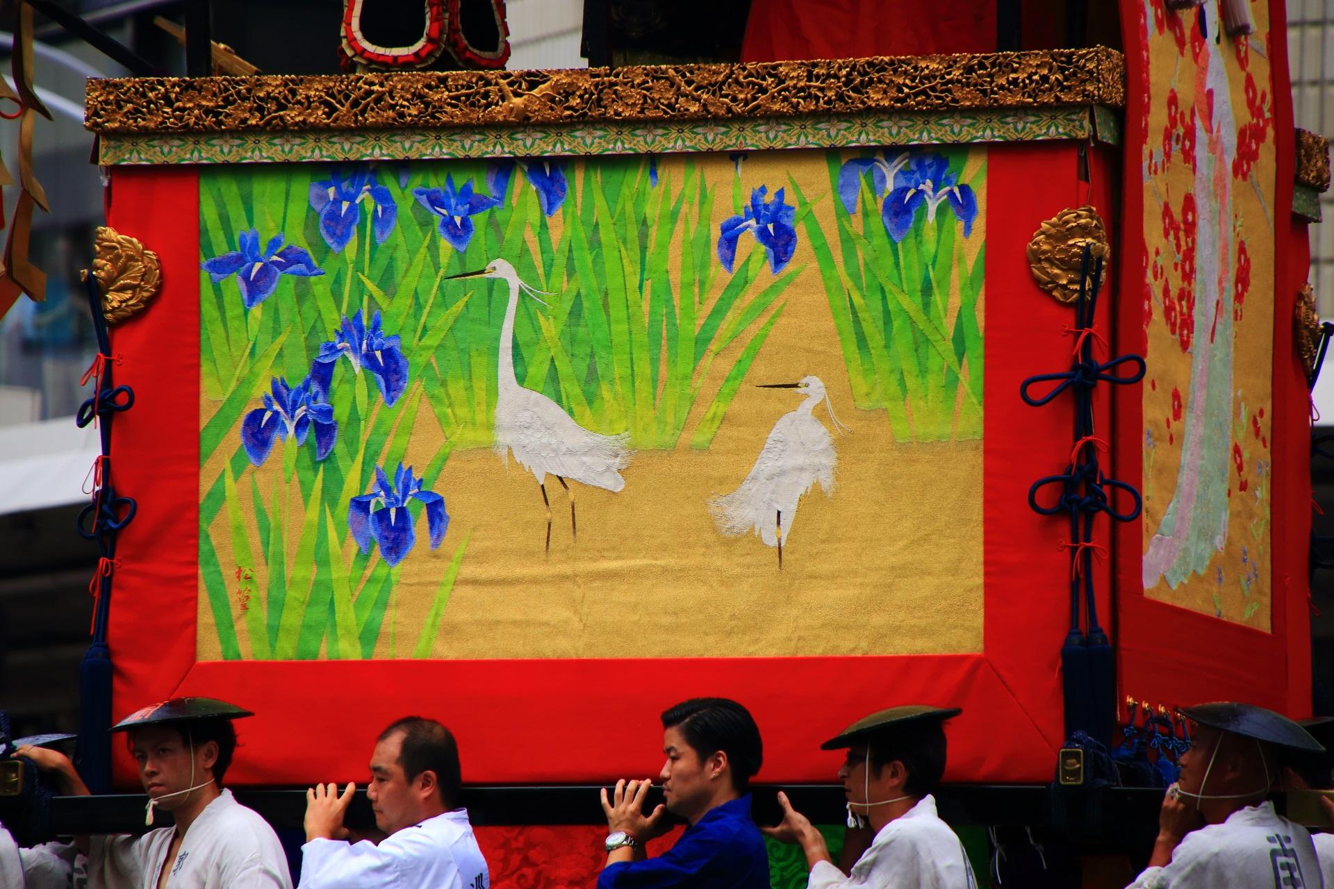 郭巨山の菖蒲と白鷺を描いた胴懸