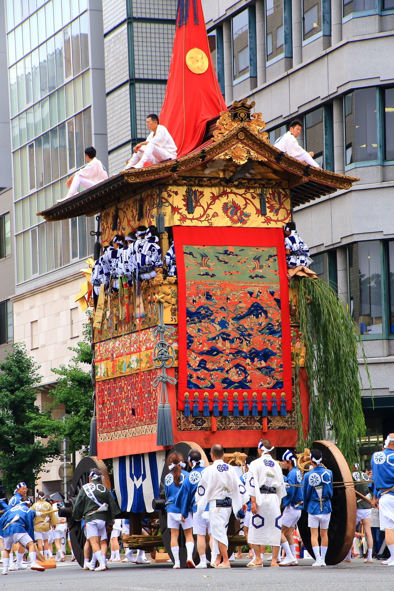 Yama-Hoko-Junko Cruise of the Gion-Festival of the three biggest festivals in Kyoto