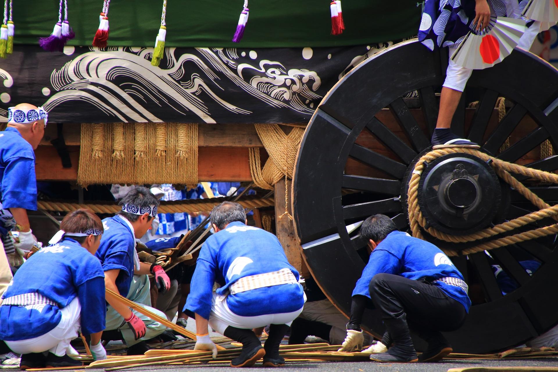 辻回しの準備をする船鉾の車輪