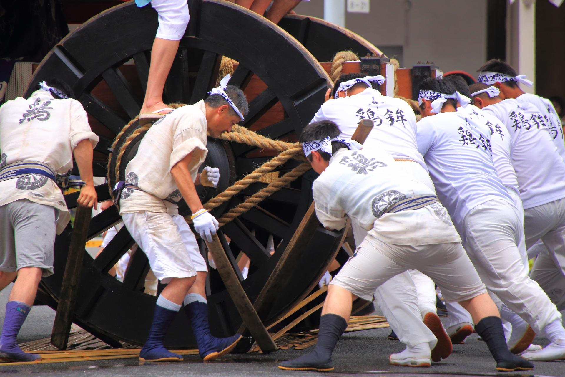 鶏鉾の辻回しの際の車輪