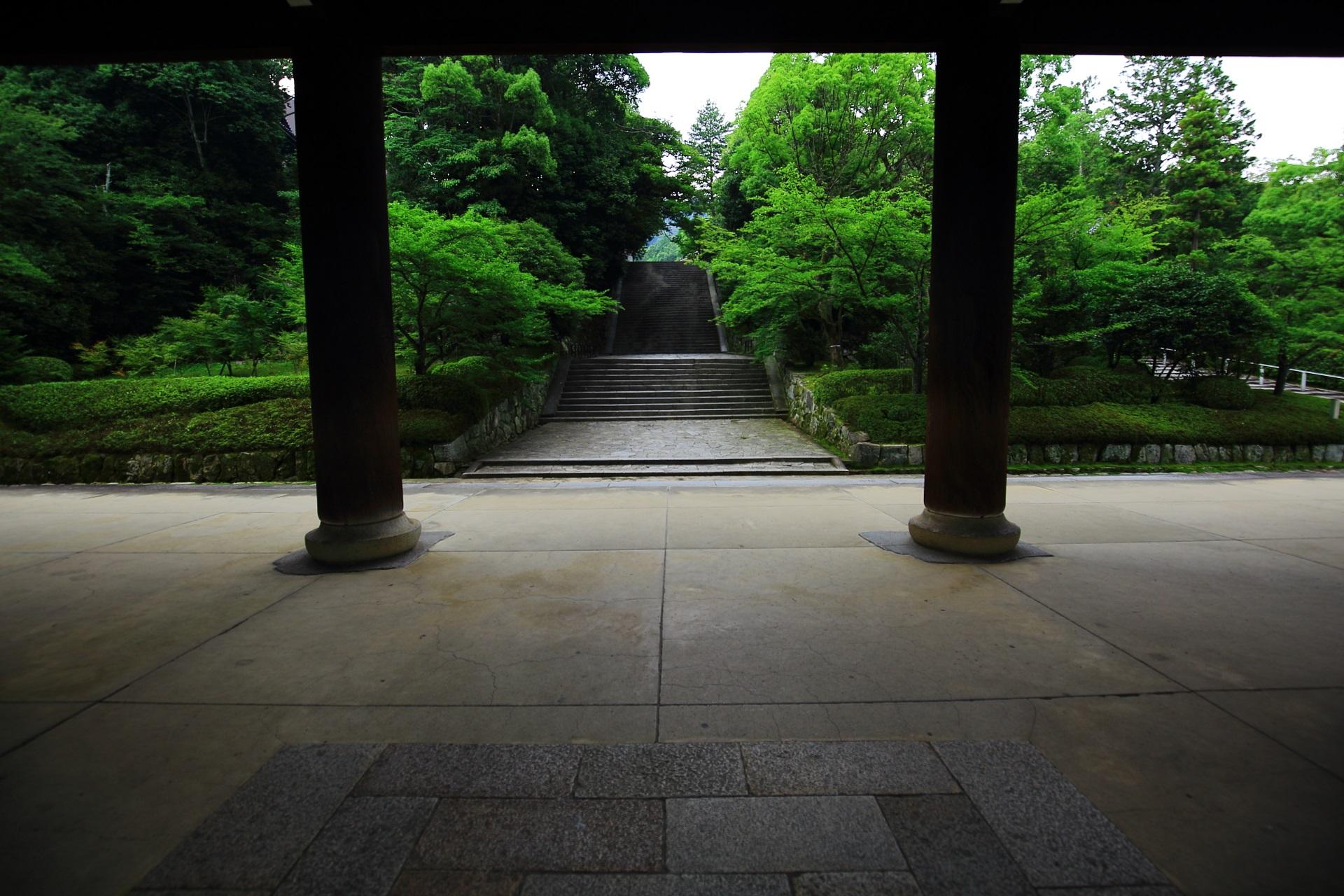 知恩院の三門から続く男坂と綺麗な緑